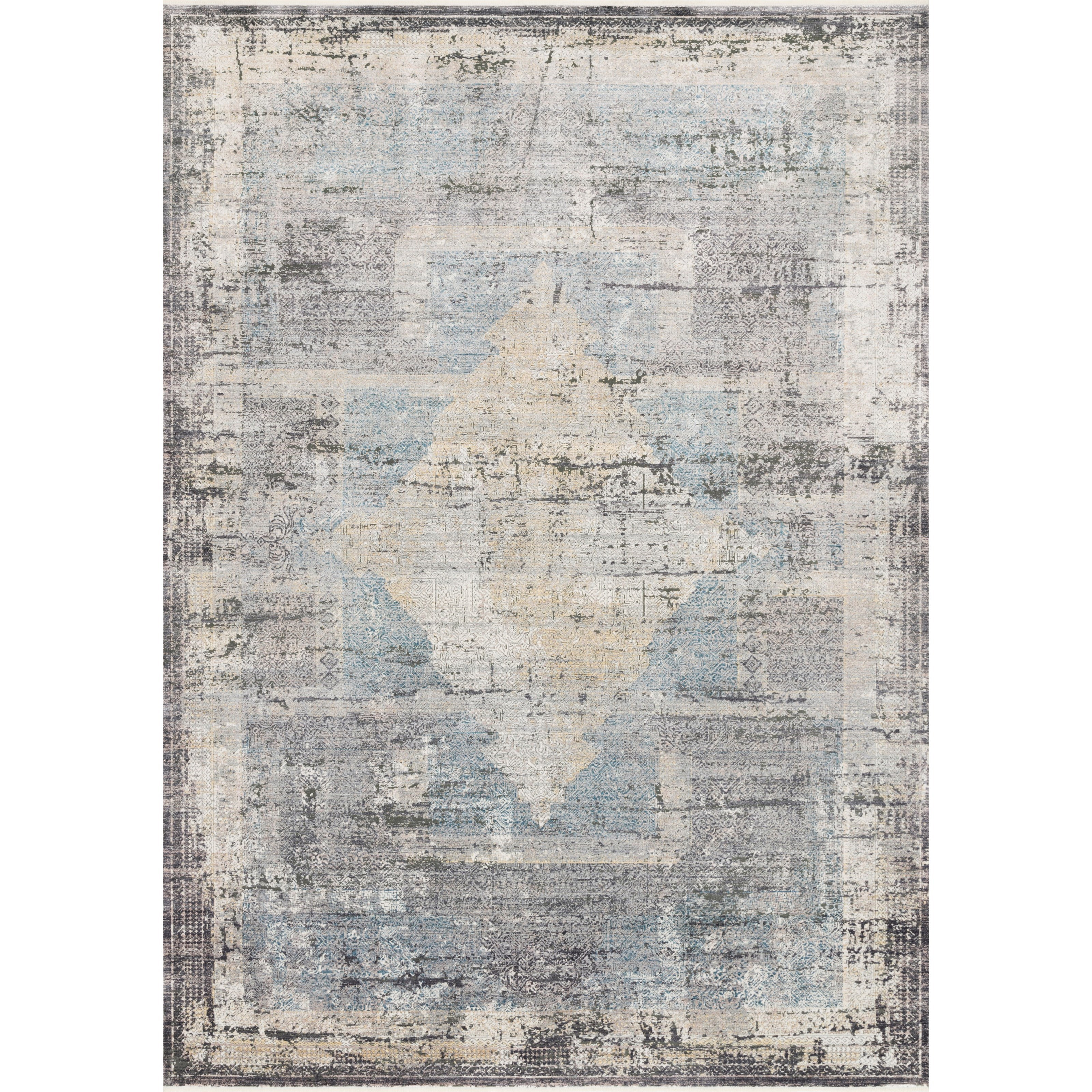"""Gemma 2'8"""" x 12' Charcoal / Multi Rug by Loloi Rugs at Virginia Furniture Market"""