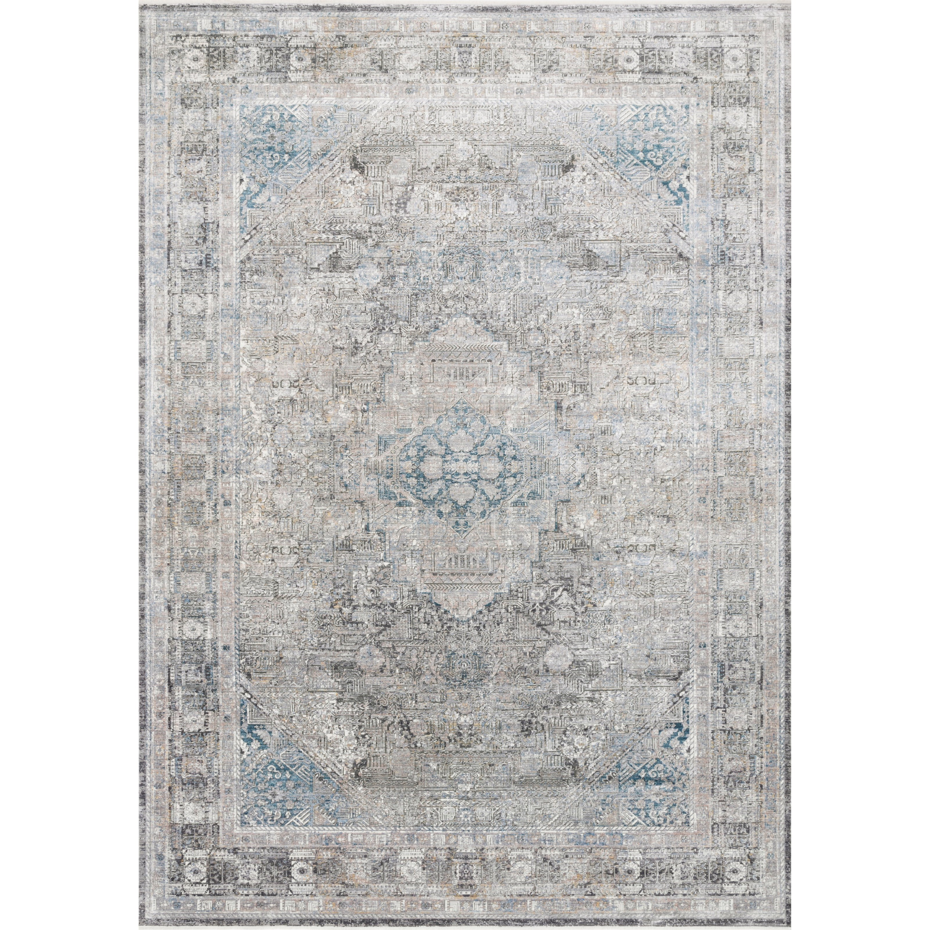 """Gemma 9'6"""" x 12'6"""" Silver / Blue Rug by Loloi Rugs at Virginia Furniture Market"""