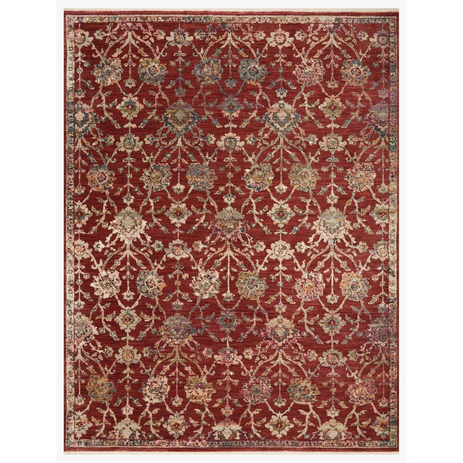"""Giada 7'9"""" x 7'9""""  Red / Multi Rug by Loloi Rugs at Virginia Furniture Market"""