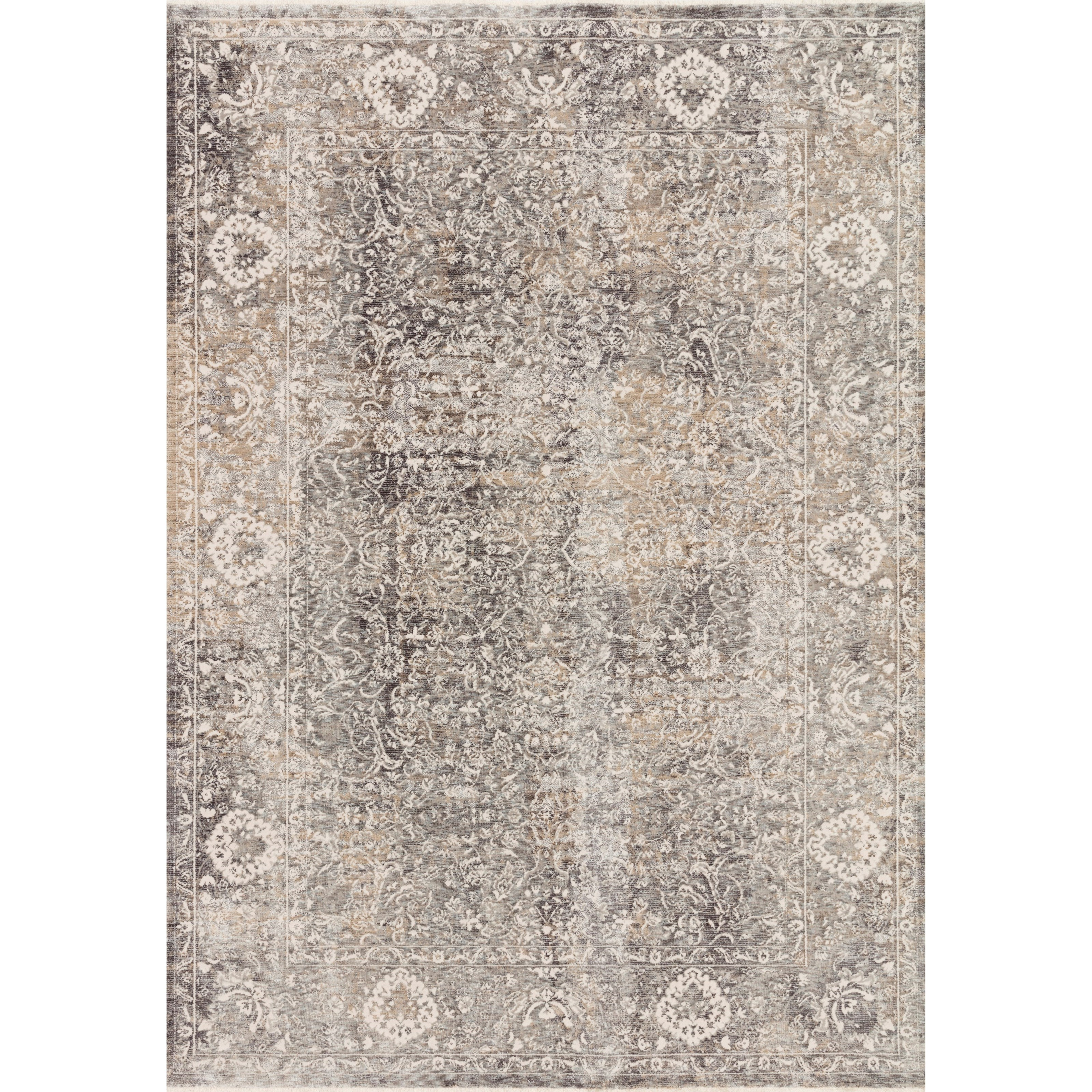 """Homage 9'6"""" x 12'5"""" Stone / Ivory Rug by Loloi Rugs at Virginia Furniture Market"""