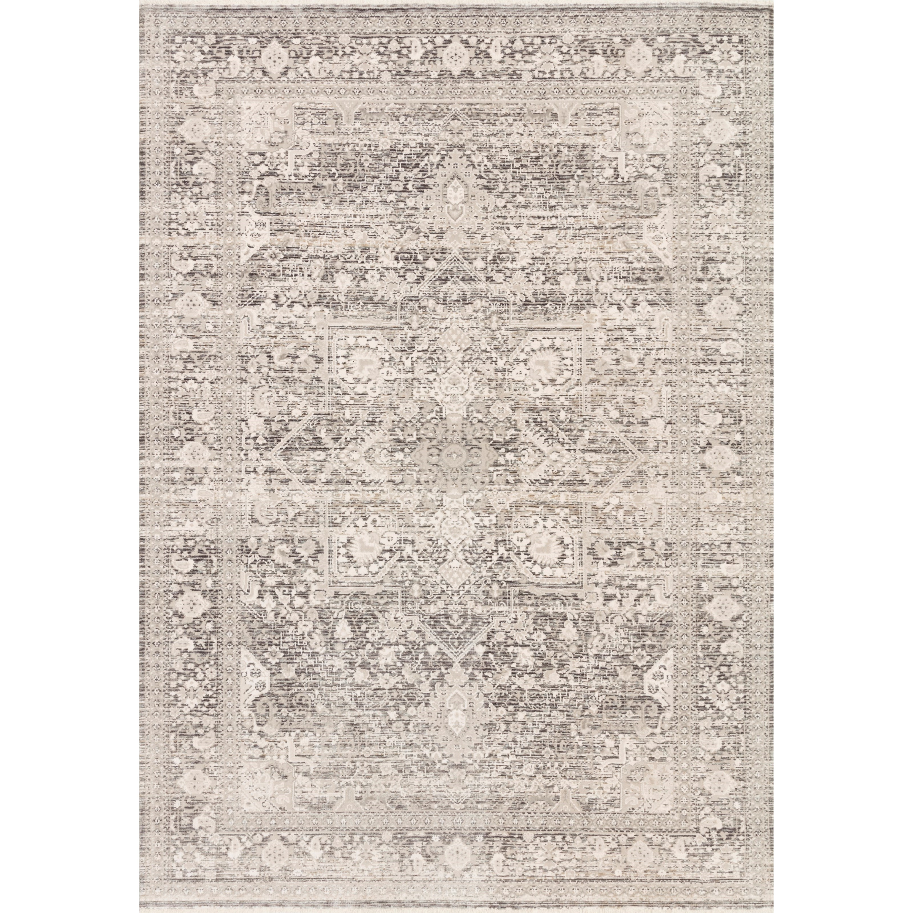 """Homage 2'6"""" x 16'0"""" Ivory / Grey Rug by Loloi Rugs at Sprintz Furniture"""