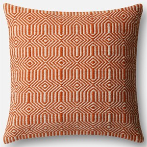 "Orange / Ivory 22"" X 22"" Polyester Pillow"