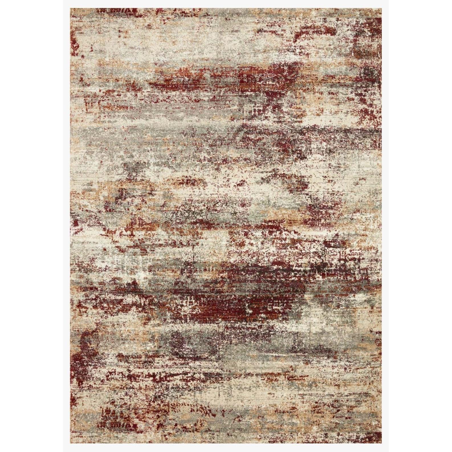 "Jasmine 2'7"" x 13' Dove / Rust Rug by Loloi Rugs at Virginia Furniture Market"