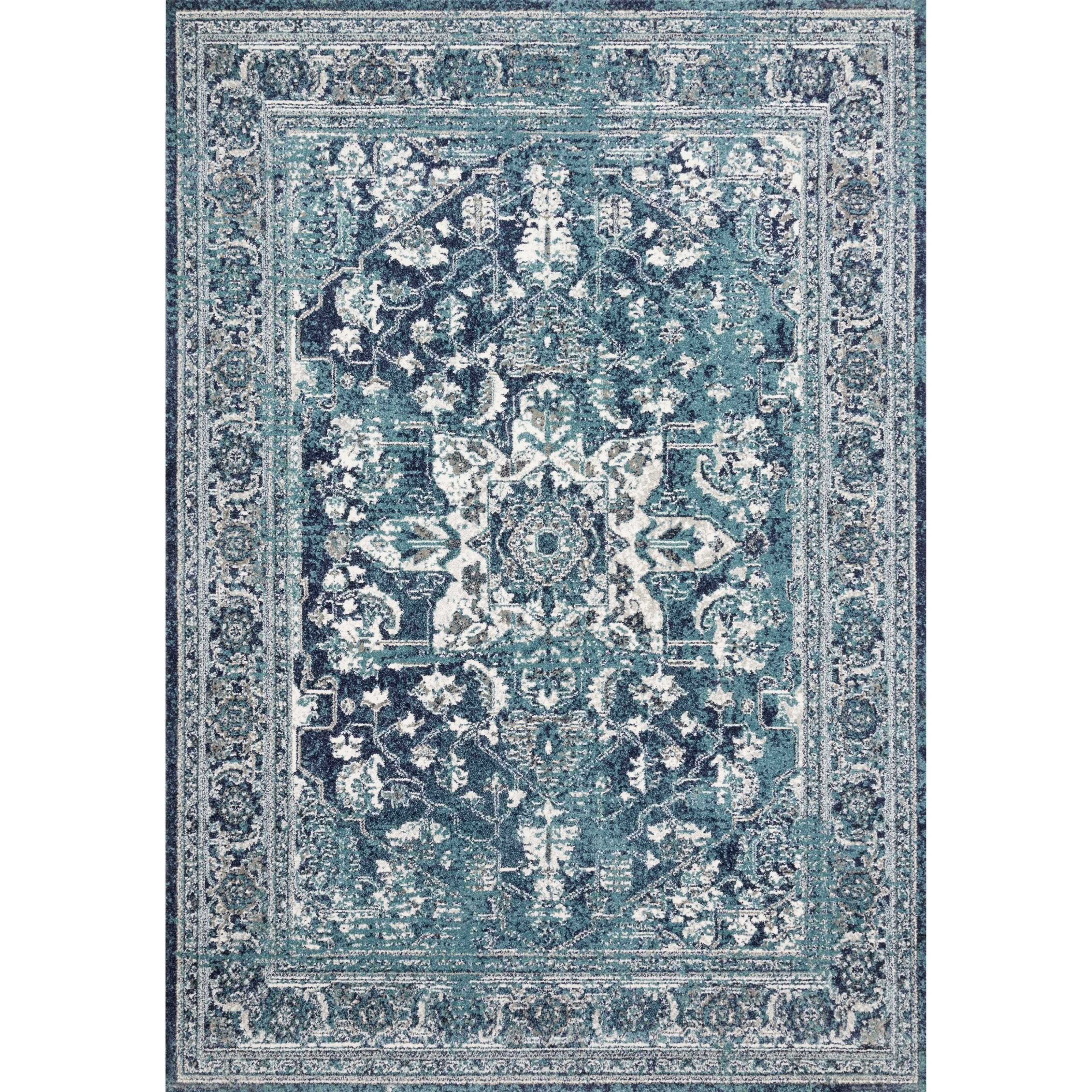 """Joaquin 7'10"""" x 7'10"""" Round Ocean / Ivory Rug by Loloi Rugs at Virginia Furniture Market"""