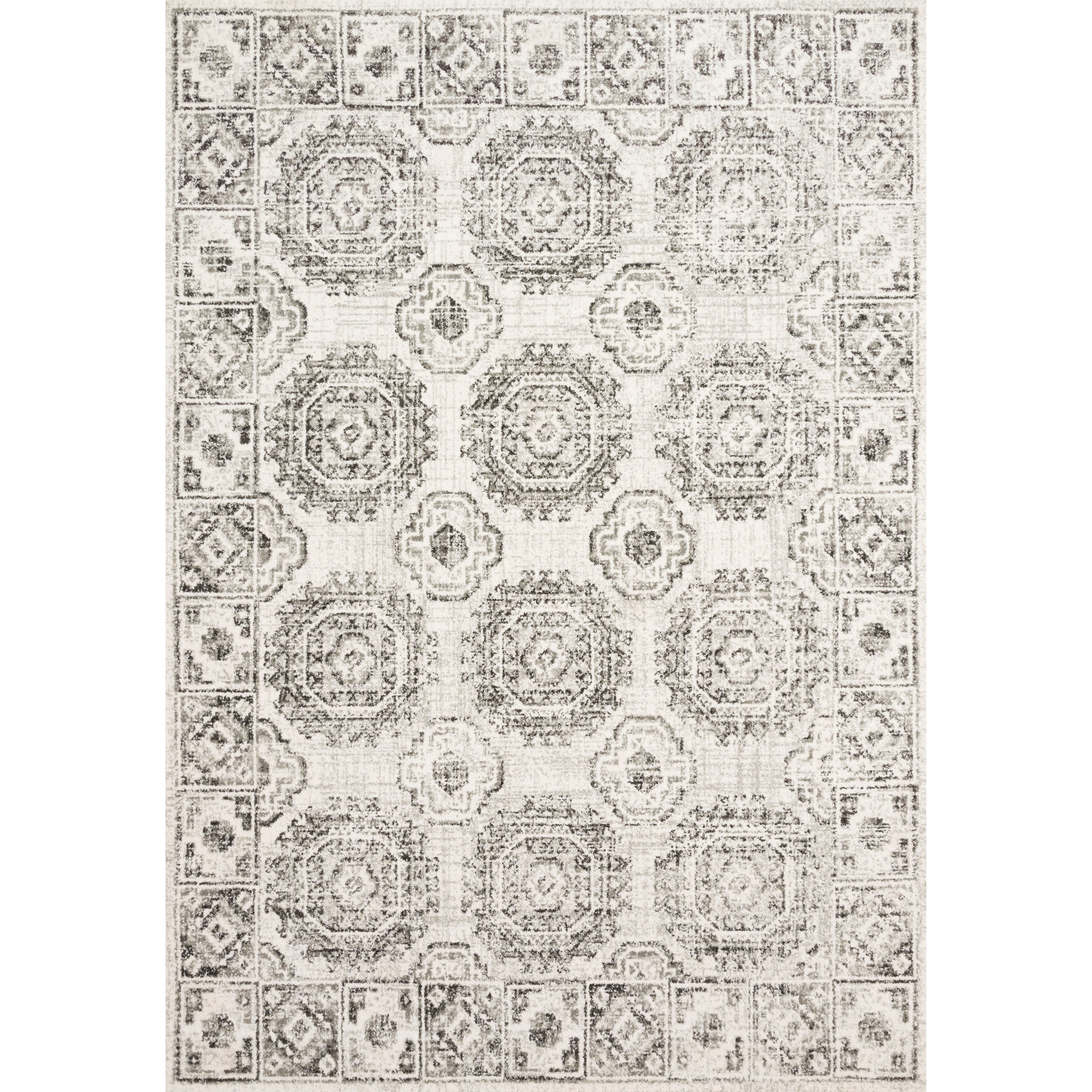 """Joaquin 5'3"""" x 7'8"""" Ivory / Charcoal Rug by Loloi Rugs at Virginia Furniture Market"""