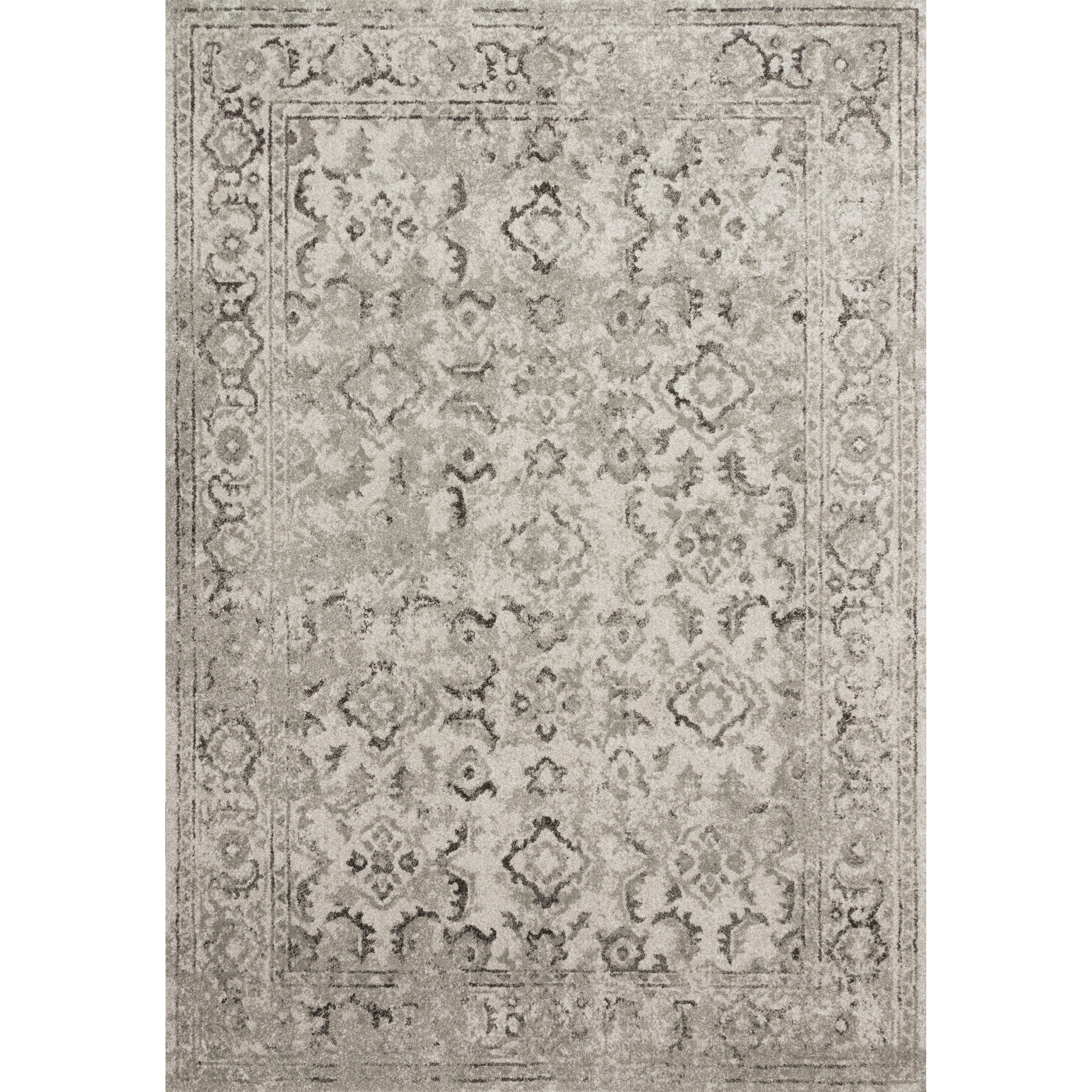 """Joaquin 7'10"""" x 7'10"""" Round Silver / Grey Rug by Loloi Rugs at Virginia Furniture Market"""