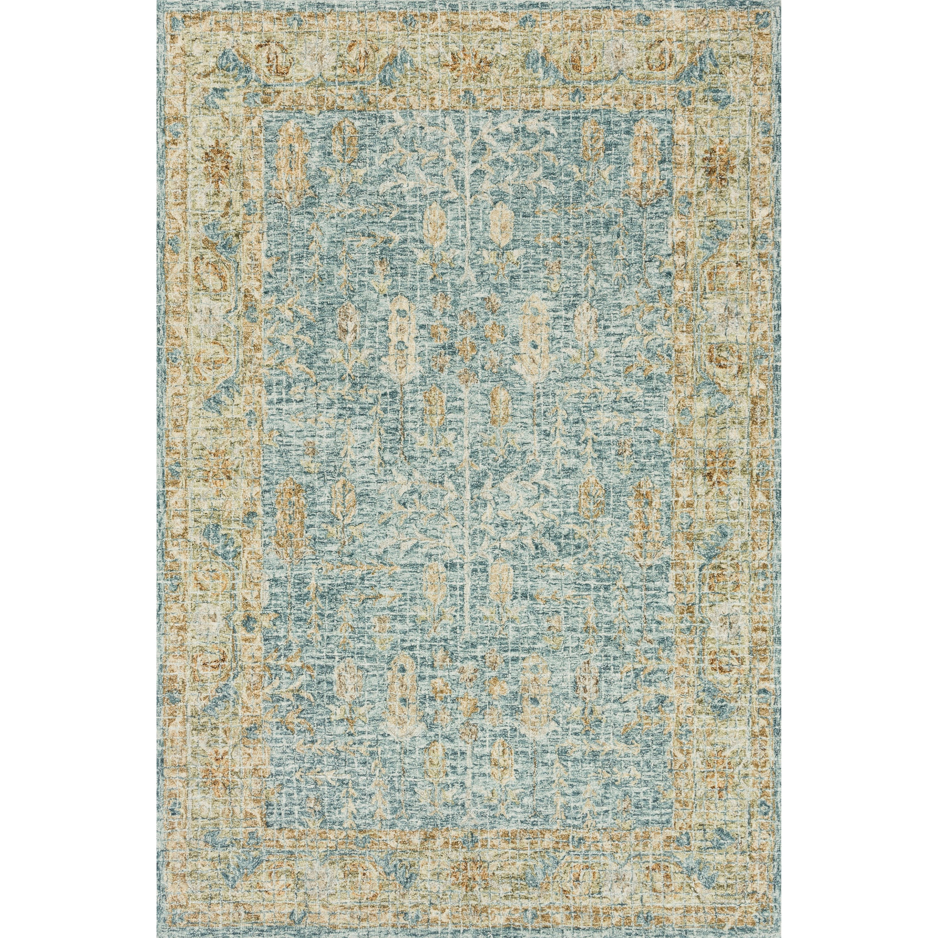 """Julian 2'6"""" x 7'6"""" Blue / Gold Rug by Loloi Rugs at Virginia Furniture Market"""