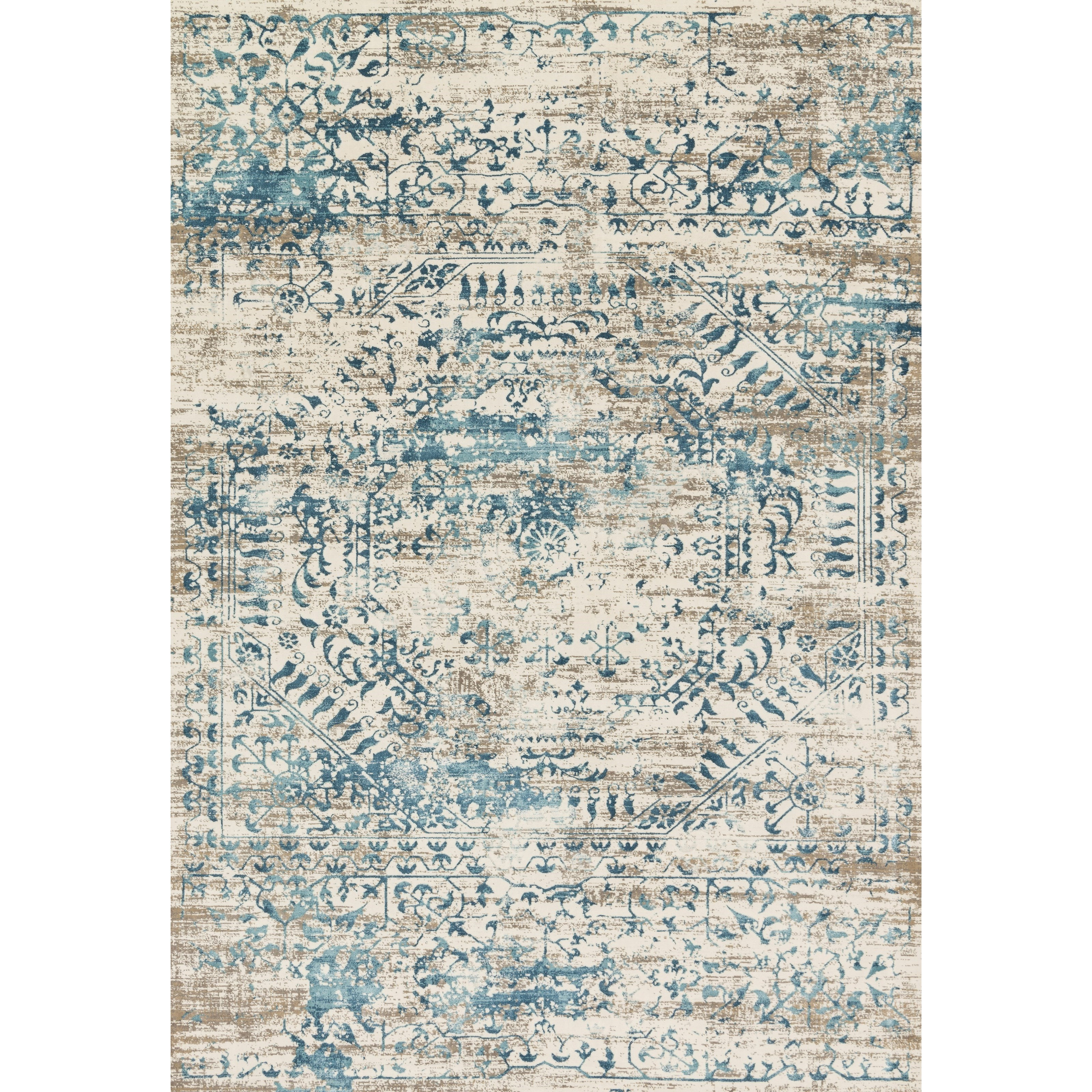 """Kingston 1'6"""" x 1'6""""  Ivory / Blue Rug by Loloi Rugs at Virginia Furniture Market"""