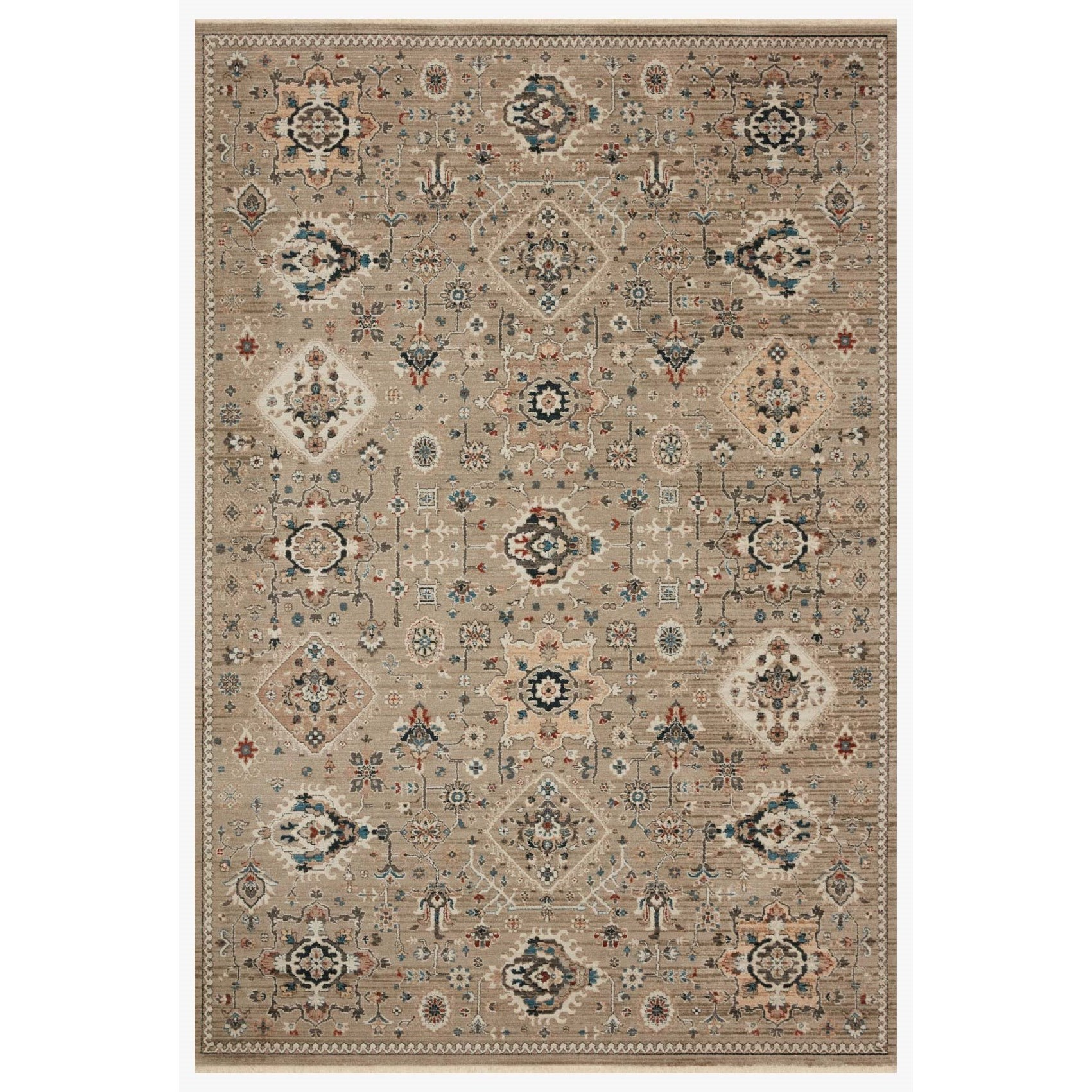 """Leigh 5'3"""" x 7'6"""" Dove / Multi Rug by Loloi Rugs at Virginia Furniture Market"""