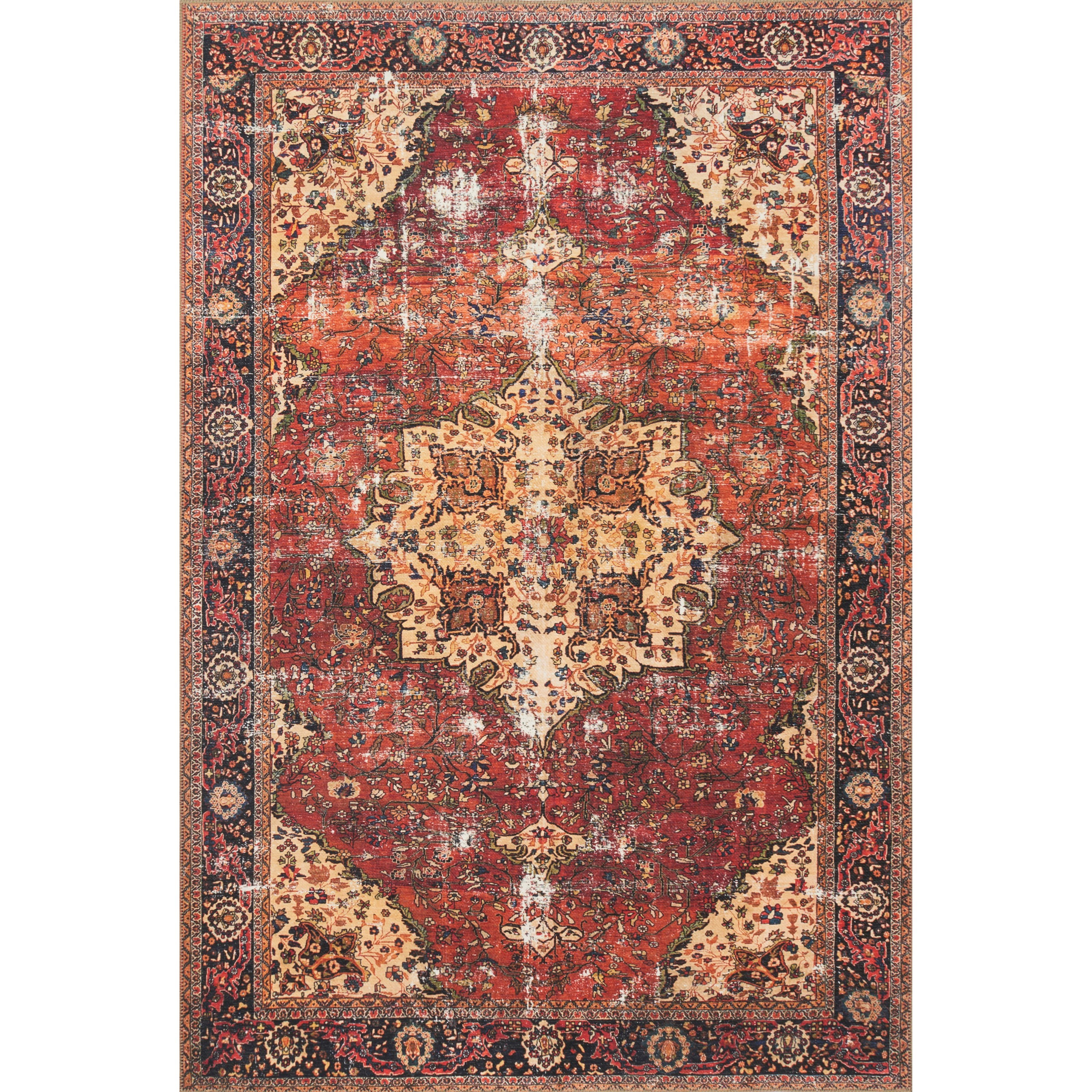 """Loren 1'6"""" x 1'6""""  Red / Navy Rug by Loloi Rugs at Sprintz Furniture"""