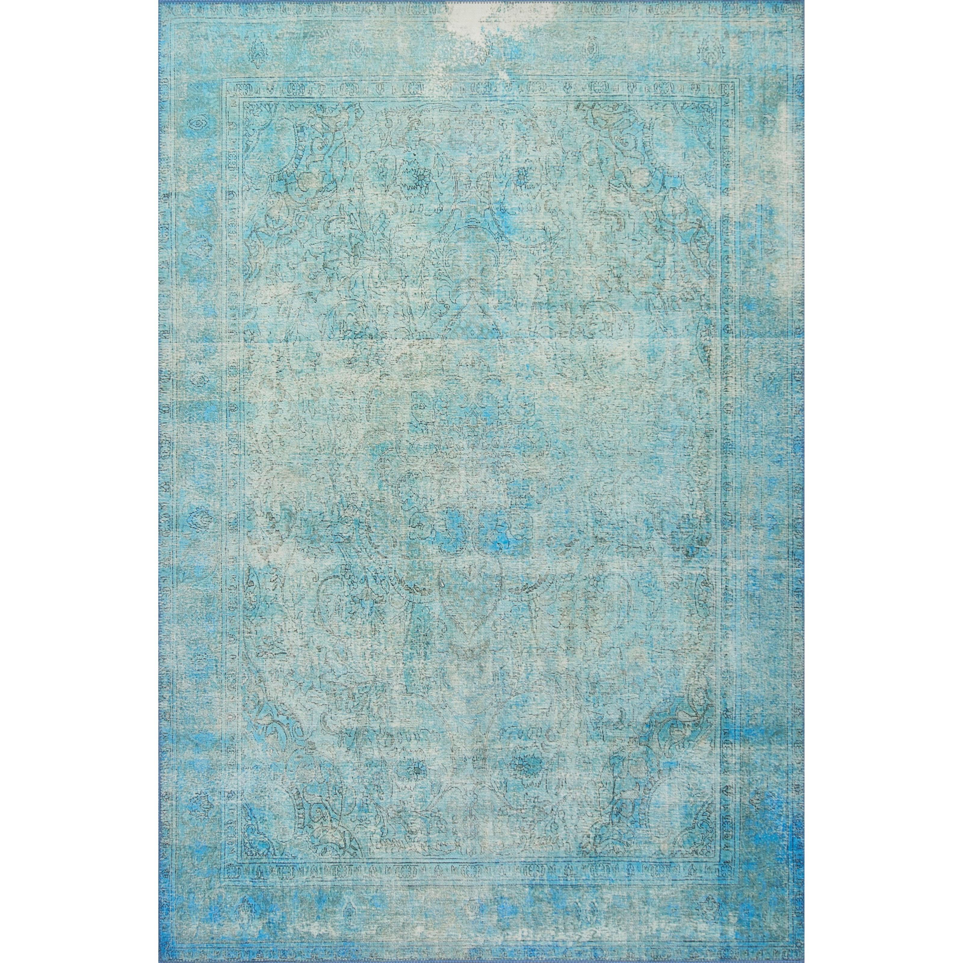 "Loren 1'6"" x 1'6""  Aqua Rug by Loloi Rugs at Virginia Furniture Market"