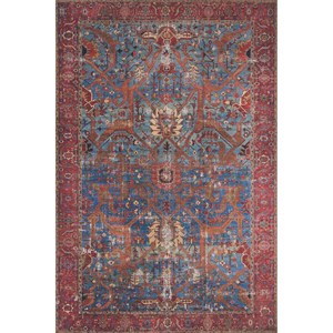 """2'-3"""" x 3'-9"""" Blue / Red Area Rug"""