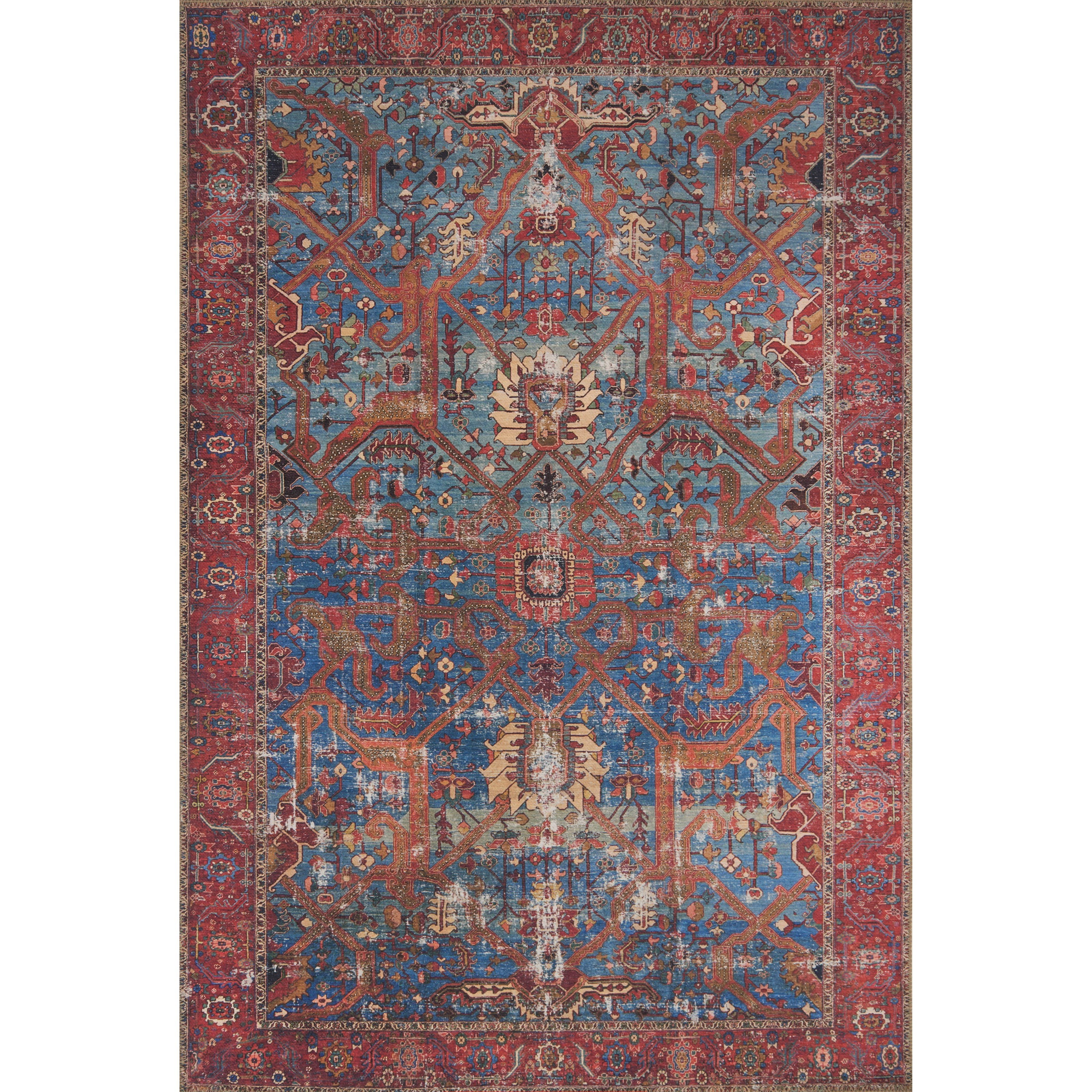 """Loren 8'4"""" x 11'6"""" Blue / Red Rug by Loloi Rugs at Miller Waldrop Furniture and Decor"""