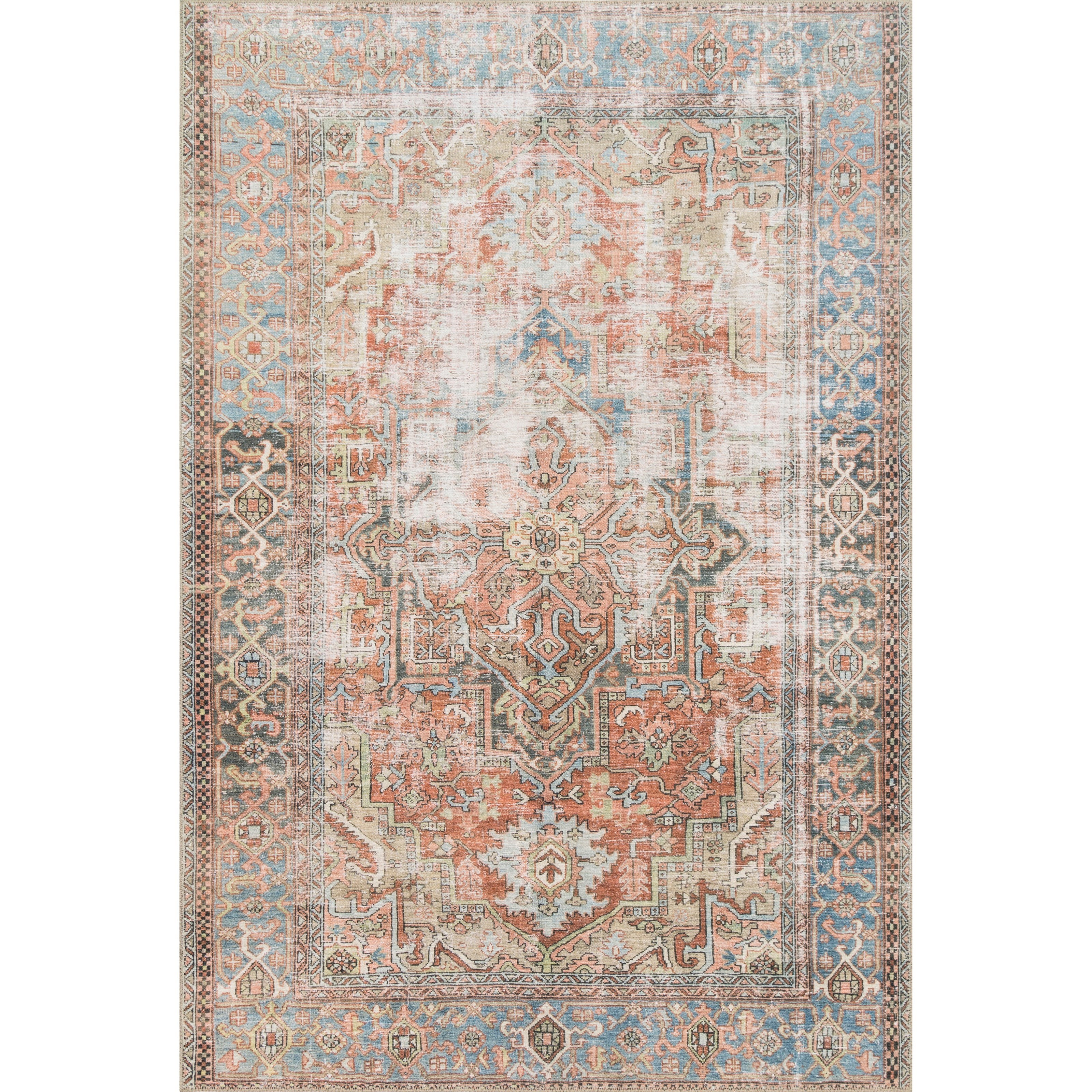 """Loren 8'4"""" x 11'6"""" Terracotta / Sky Rug by Loloi Rugs at Miller Waldrop Furniture and Decor"""