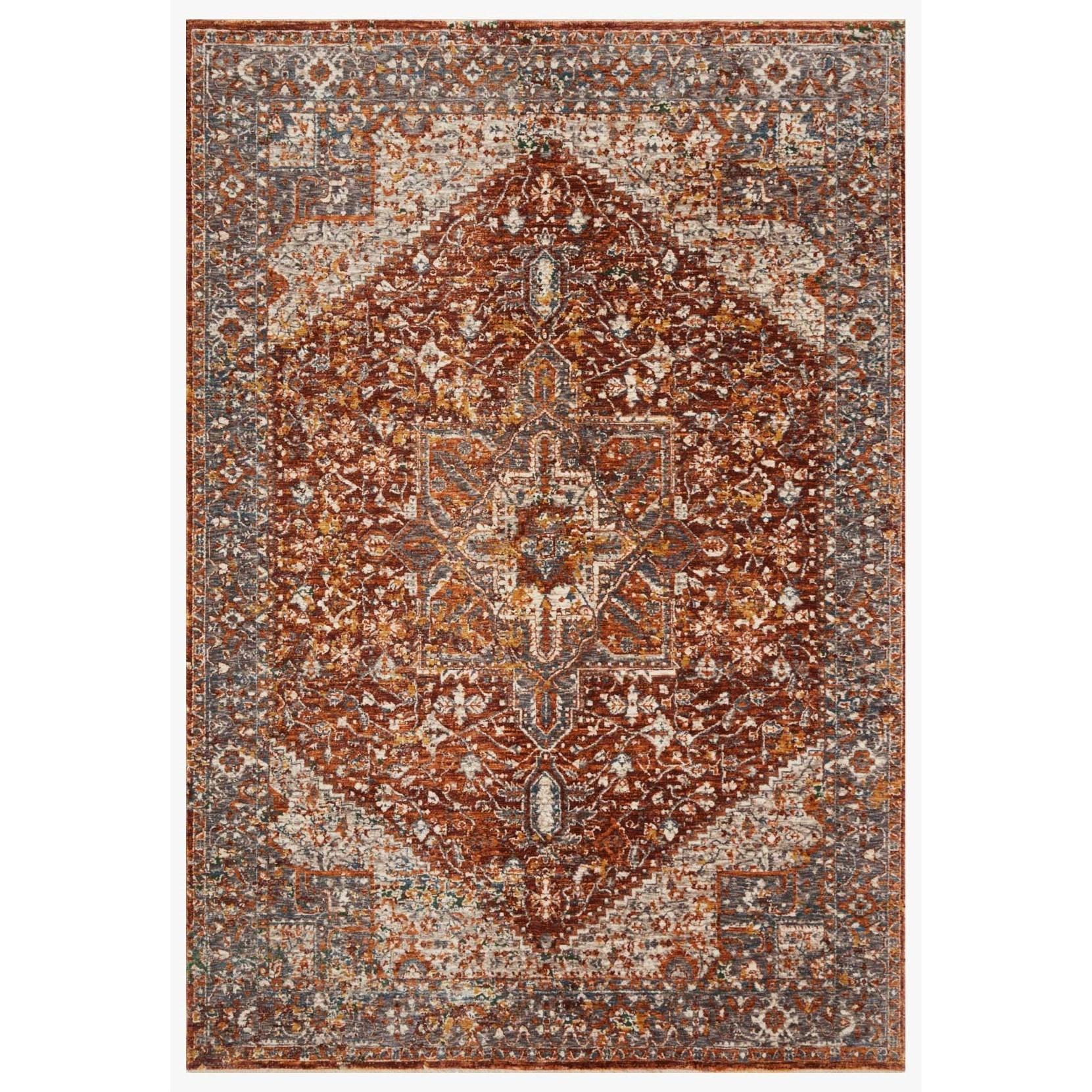 "Lourdes 18"" x 18""  Rust / Multi Rug by Loloi Rugs at Virginia Furniture Market"