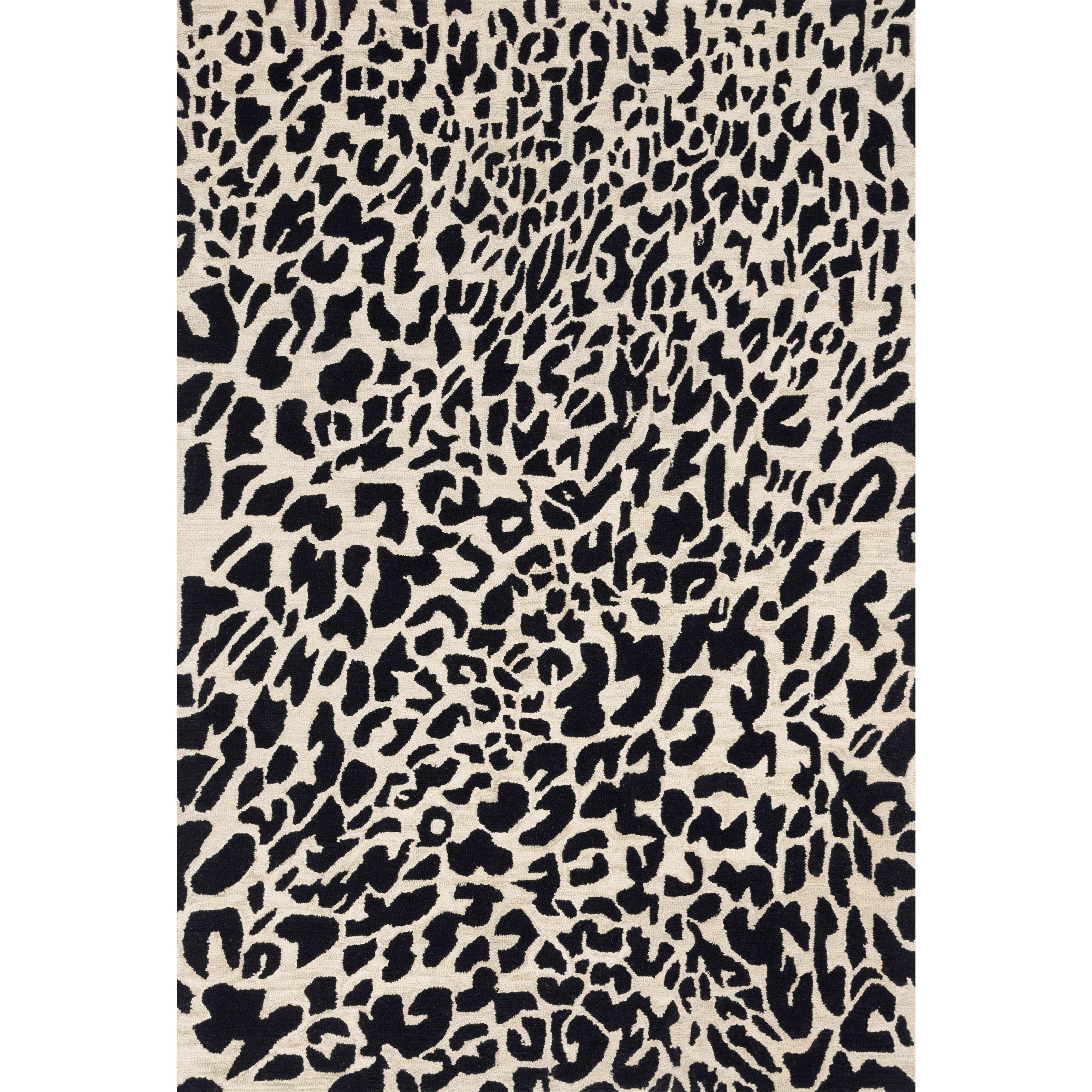 """Masai 3'6"""" x 5'6"""" Black / Ivory Rug by Loloi Rugs at Virginia Furniture Market"""