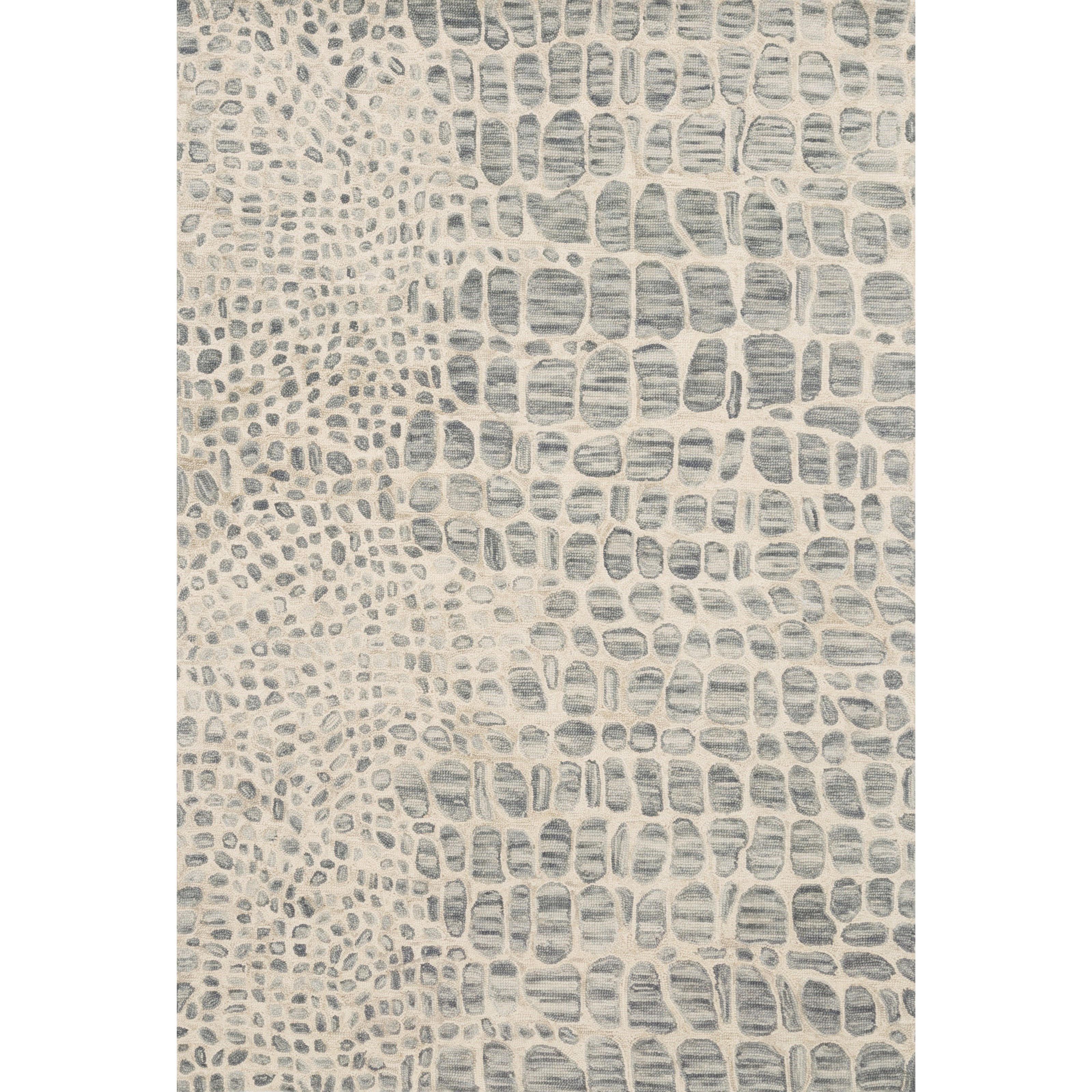 """Masai 1'6"""" x 1'6""""  Silver Grey / Ivory Rug by Loloi Rugs at Virginia Furniture Market"""