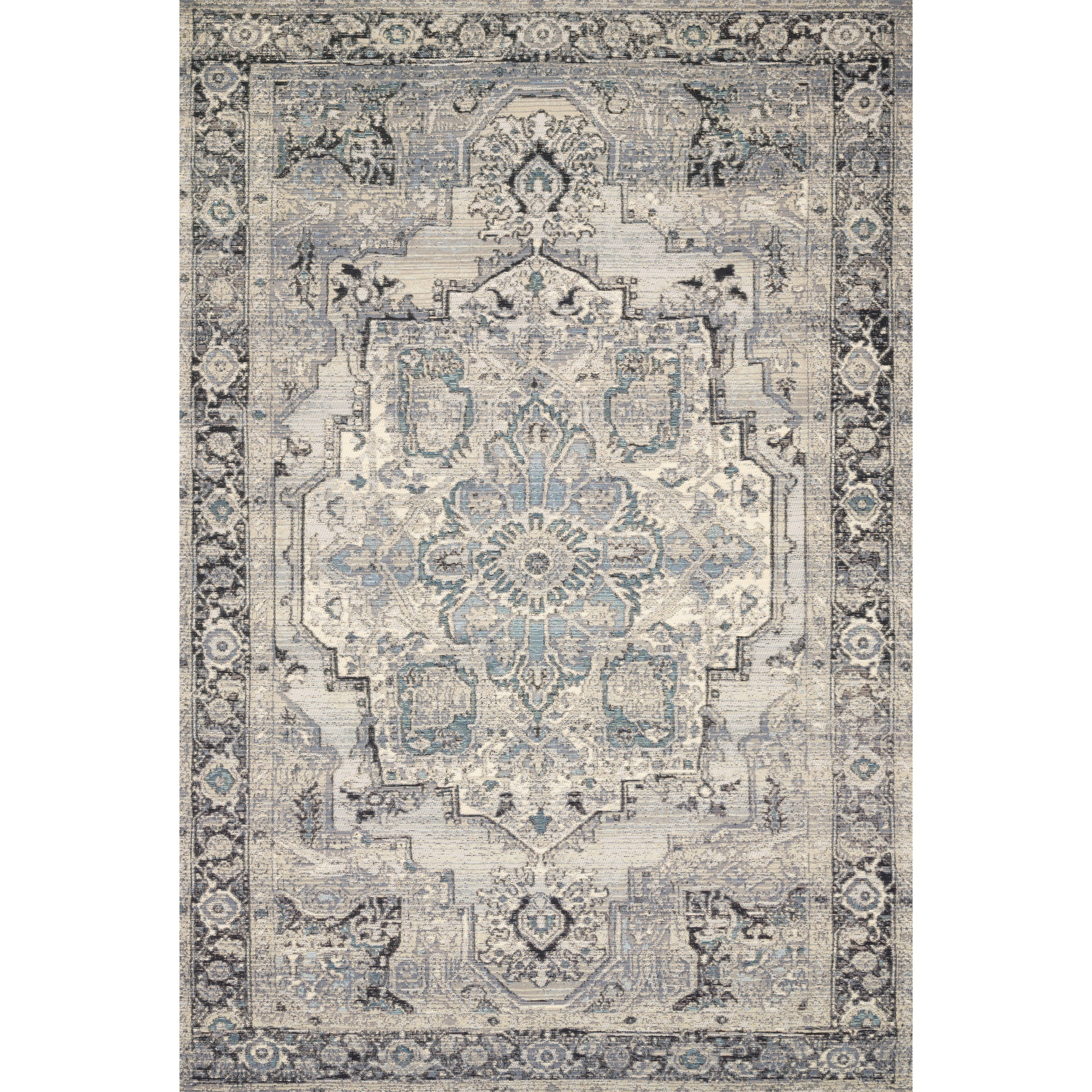 """Mika 2'5"""" x 7'8"""" Grey / Blue Rug by Loloi Rugs at Virginia Furniture Market"""