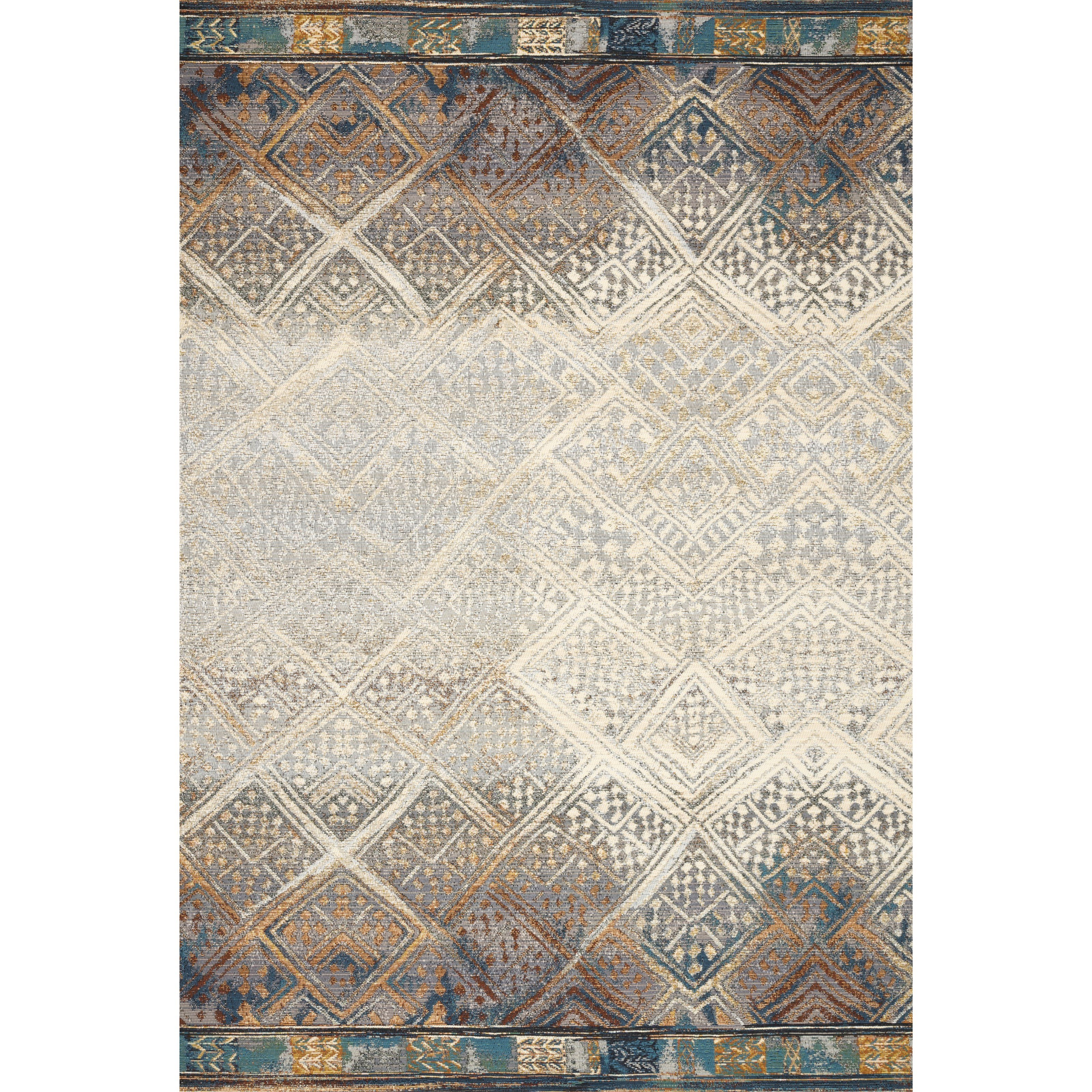 """Mika 2'5"""" x 7'8"""" Ivory / Mediterranean Rug by Loloi Rugs at Virginia Furniture Market"""