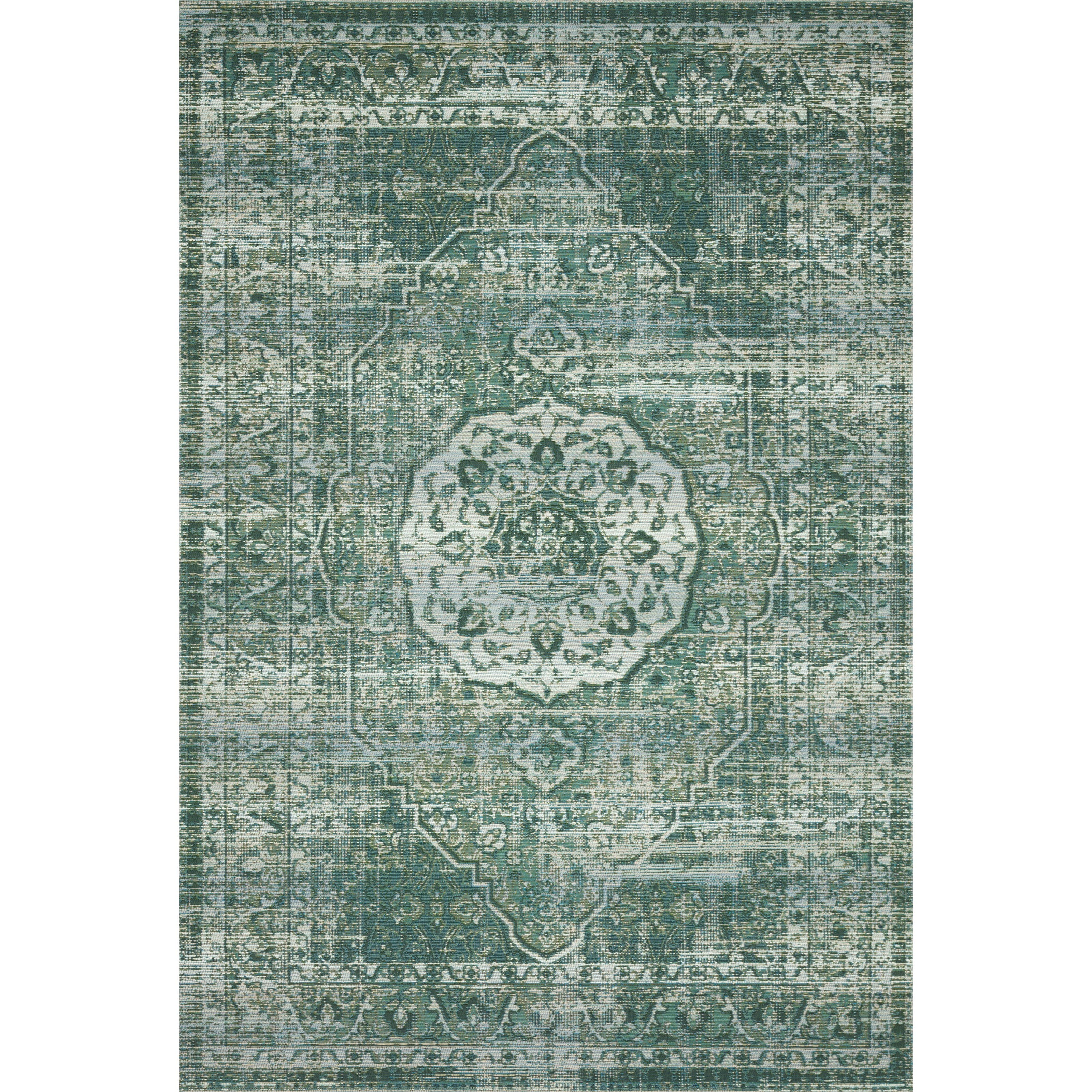 """Mika 5'3"""" x 7'8"""" Green / Mist Rug by Loloi Rugs at Virginia Furniture Market"""