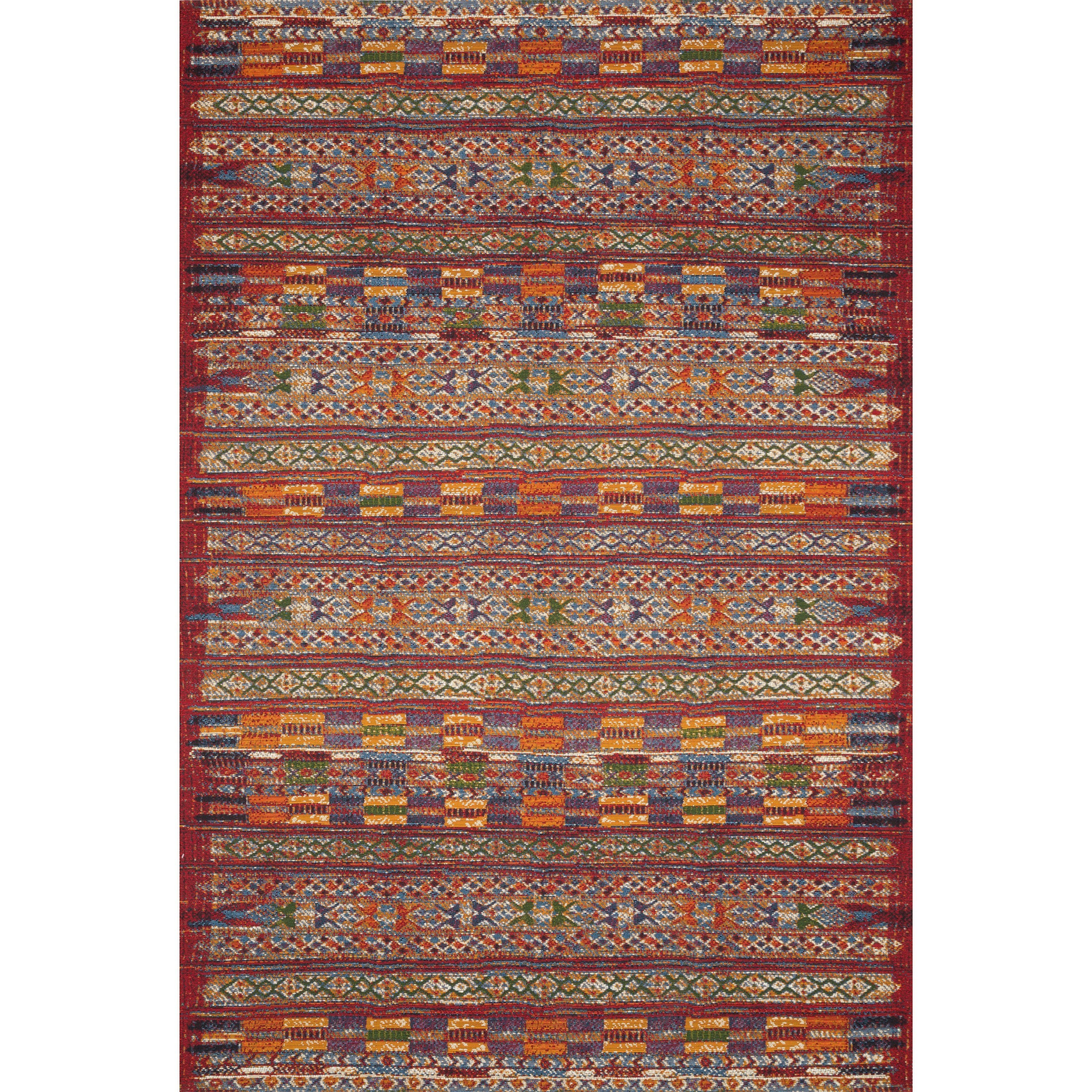 """Mika 7'10"""" x 11'2"""" Red / Multi Rug by Loloi Rugs at Virginia Furniture Market"""