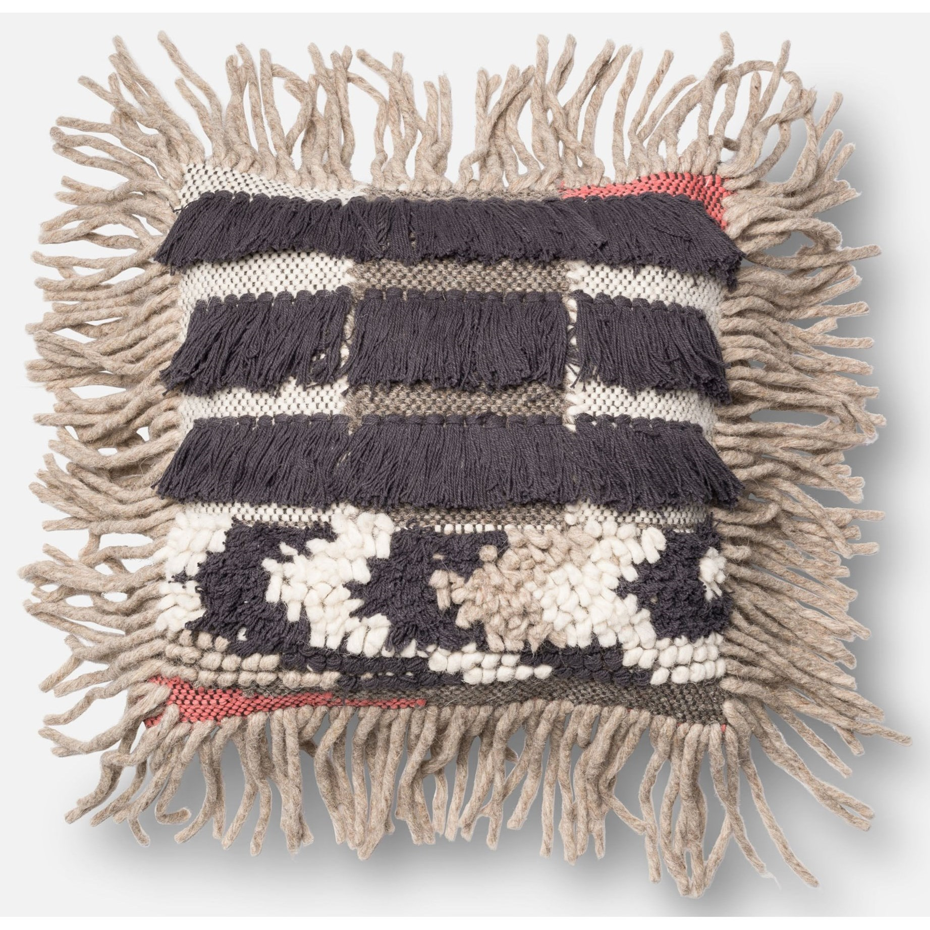 """Multi Texture 18"""" X 18"""" Down Pillow by Loloi Rugs at Virginia Furniture Market"""