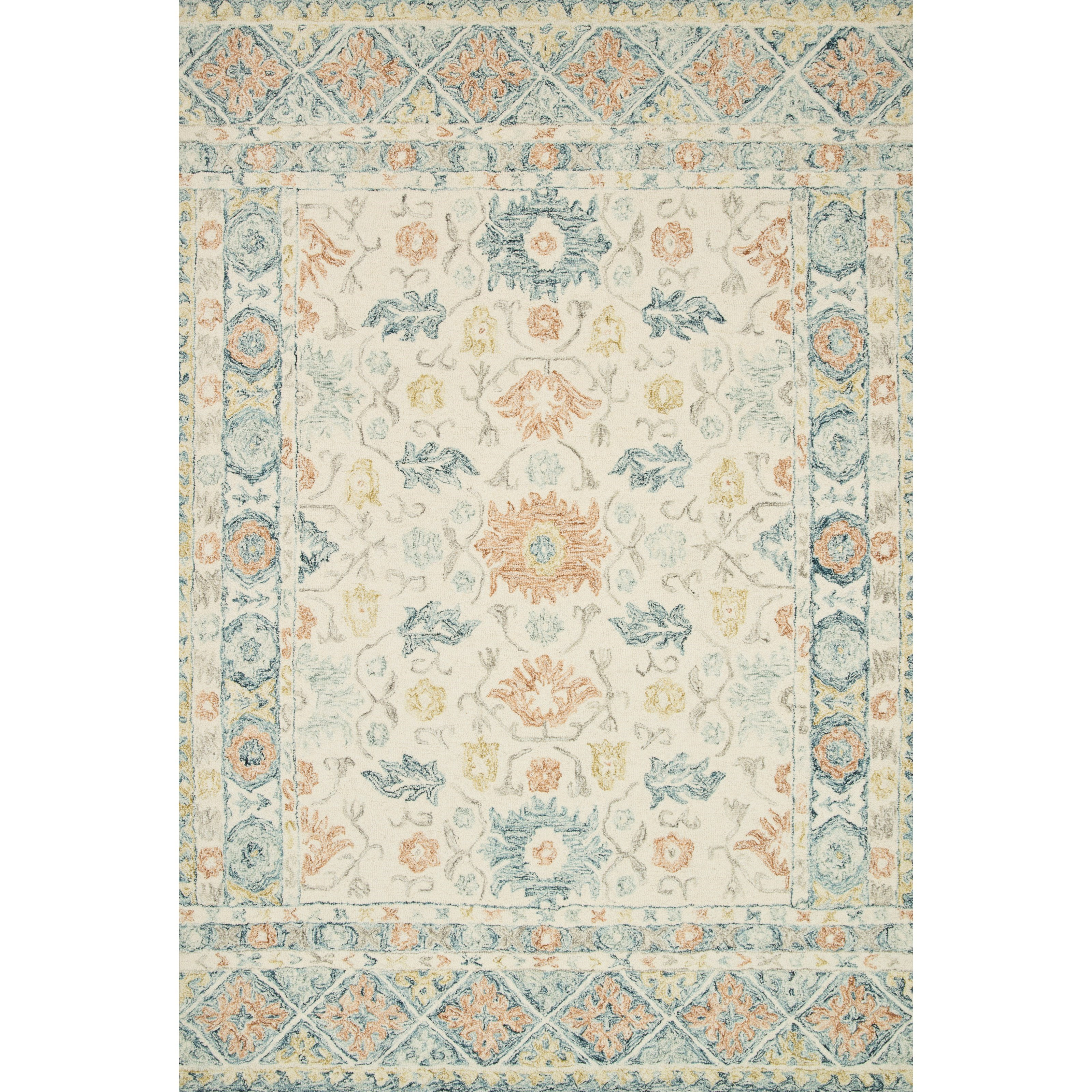 """Norabel 3'6"""" x 5'6"""" Ivory / Multi Rug by Loloi Rugs at Virginia Furniture Market"""