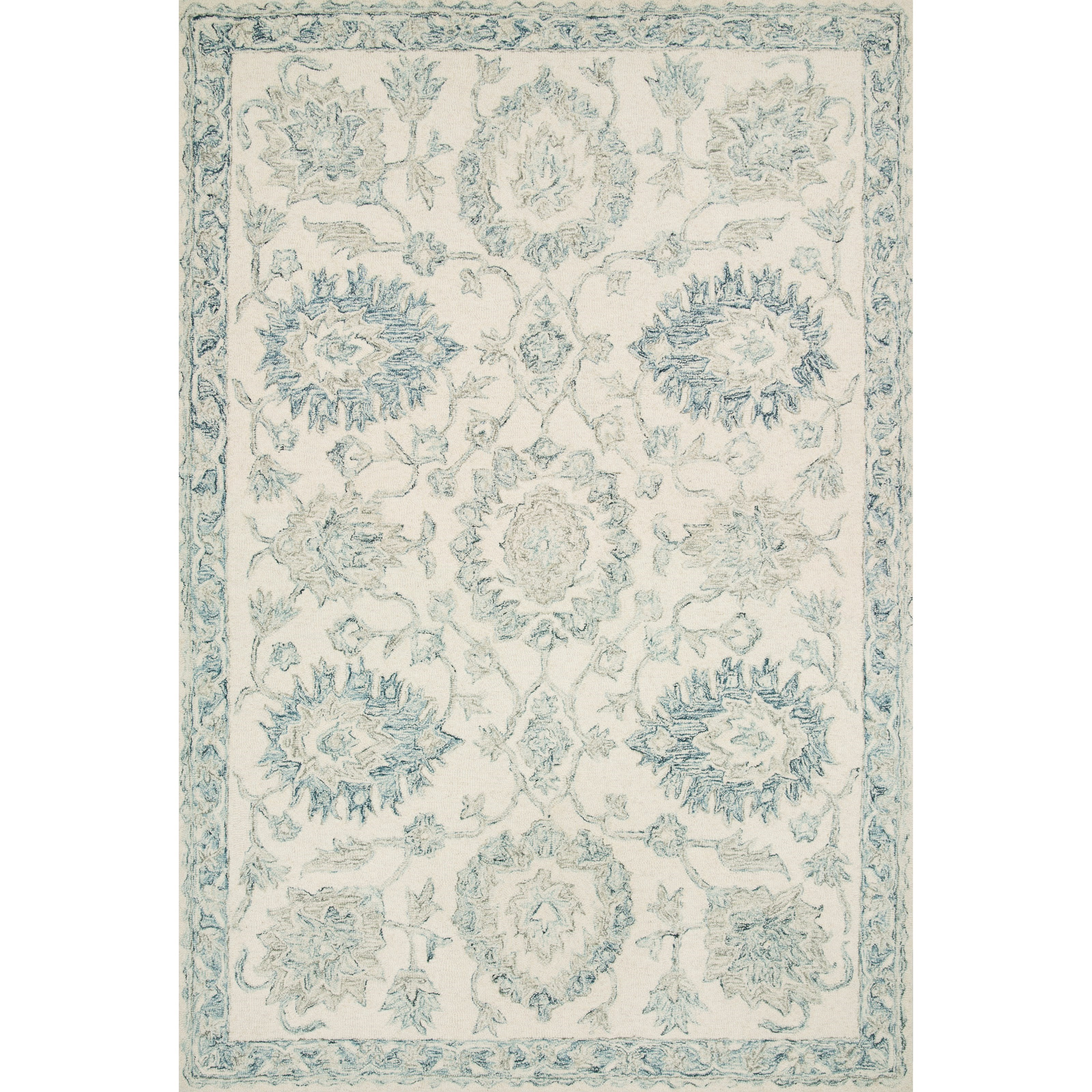 """Norabel 3'6"""" x 5'6"""" Ivory / Blue Rug by Loloi Rugs at Virginia Furniture Market"""