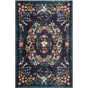 5-0 X 7-6 Black/Multi Area Rug