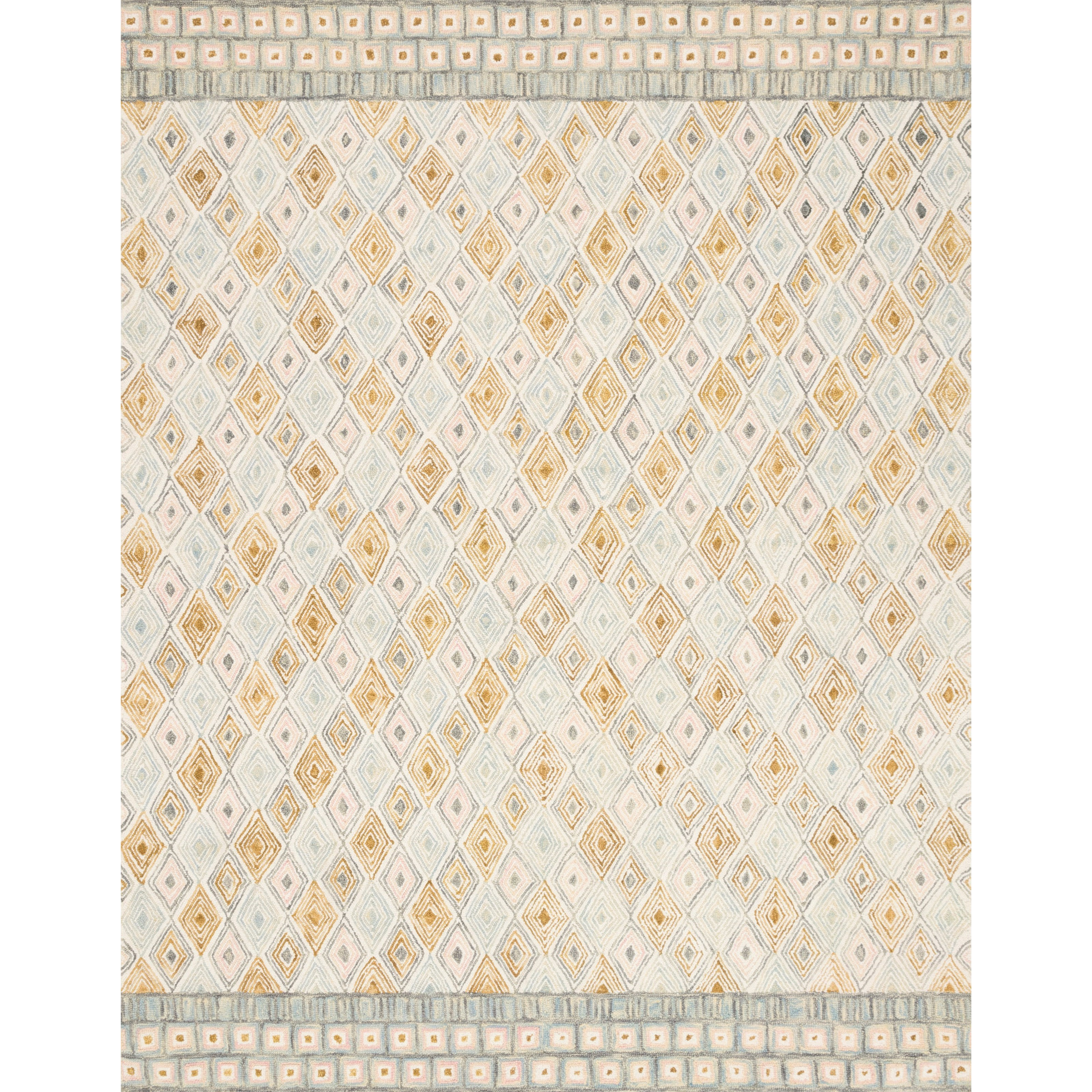 """Priti 2'6"""" x 9'9"""" Mist / Gold Rug by Loloi Rugs at Virginia Furniture Market"""