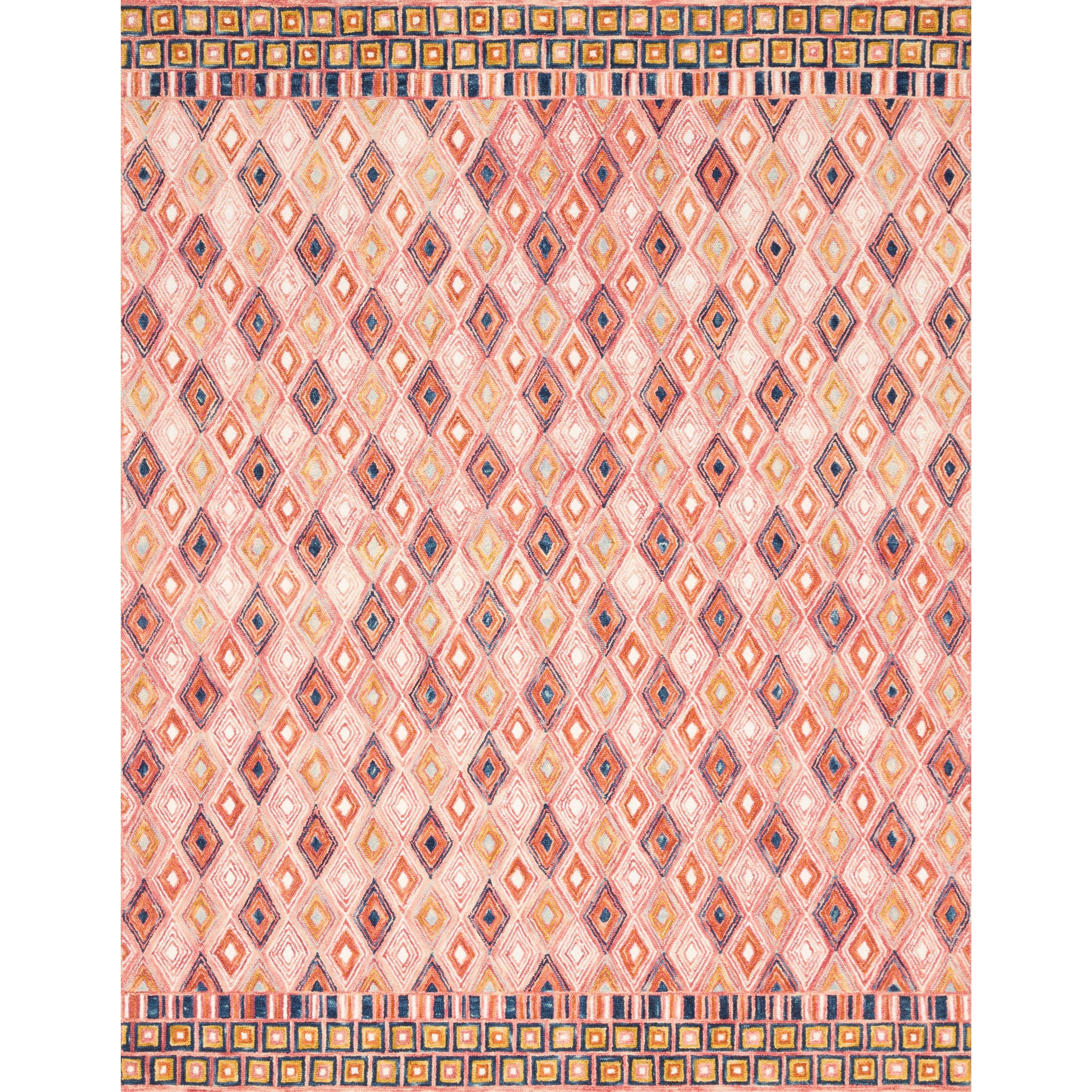 "Priti 7'9"" x 7'9"" Round Pink / Sunset Rug by Loloi Rugs at Virginia Furniture Market"