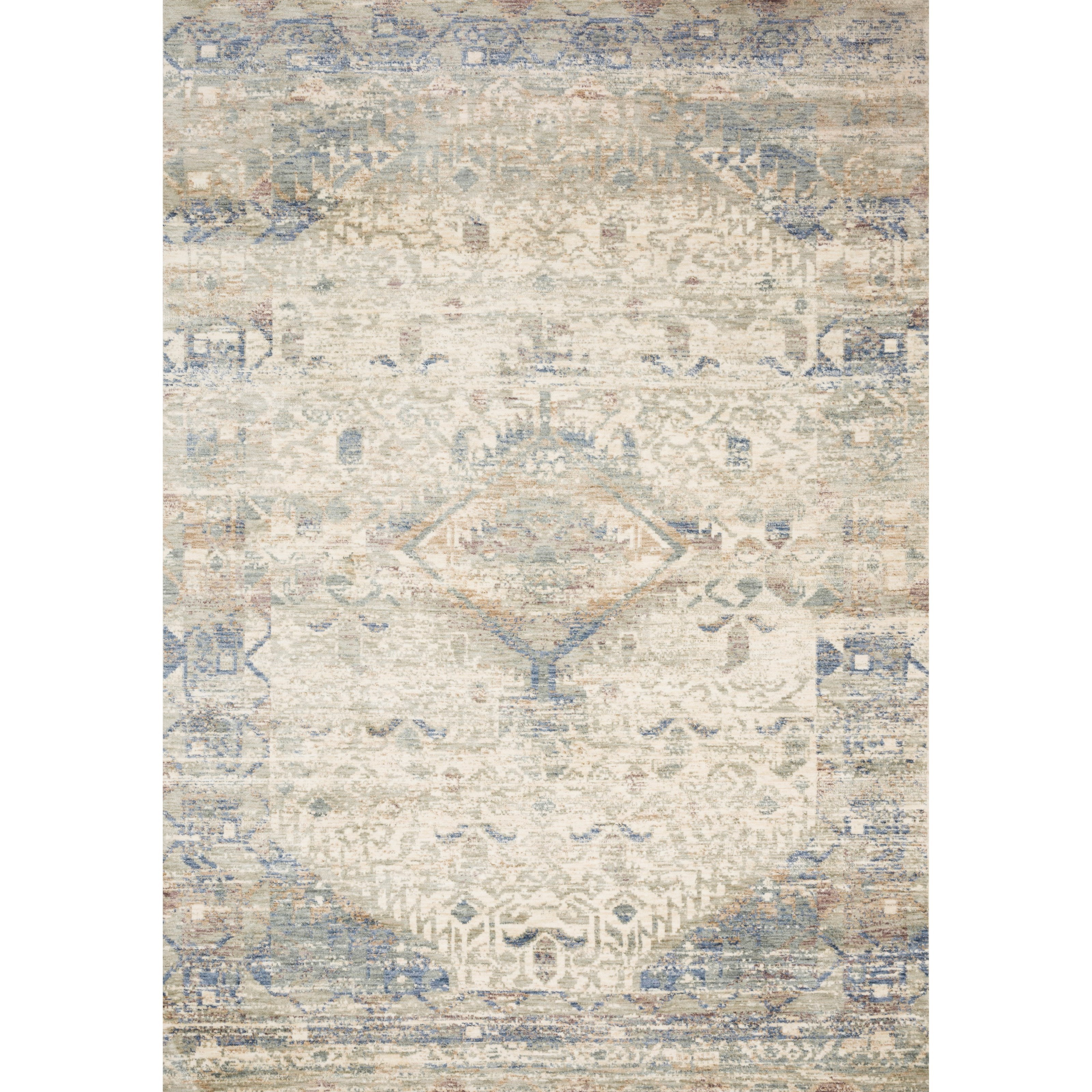 """Revere 7'10"""" x 7'10"""" Round Ivory / Blue Rug by Loloi Rugs at Virginia Furniture Market"""