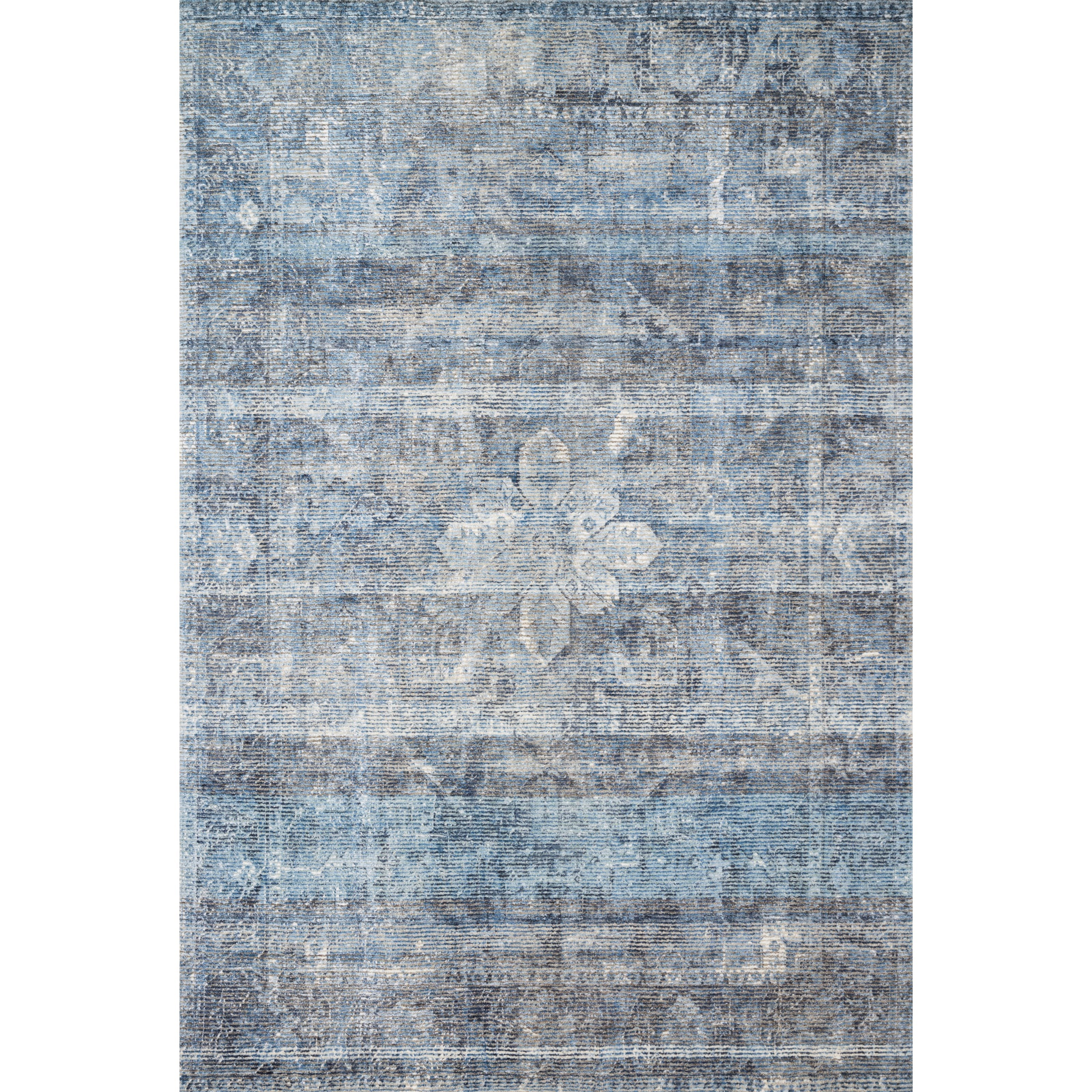 "Rumi 2'6"" x 7'6"" Blue Rug by Loloi Rugs at Virginia Furniture Market"