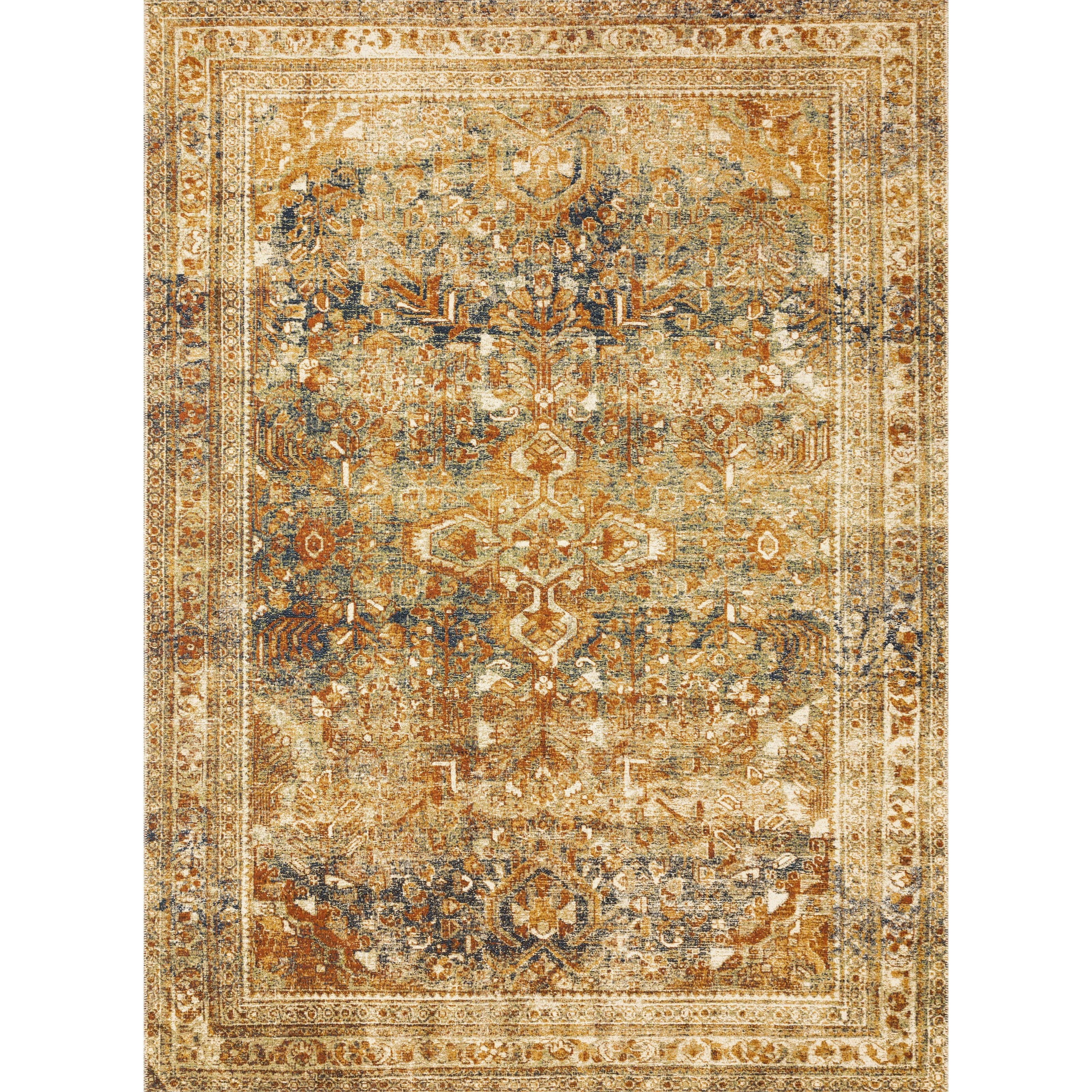 "Sebastian 5'3"" x 7'8"" Lagoon / Spice Rug by Loloi Rugs at Sprintz Furniture"
