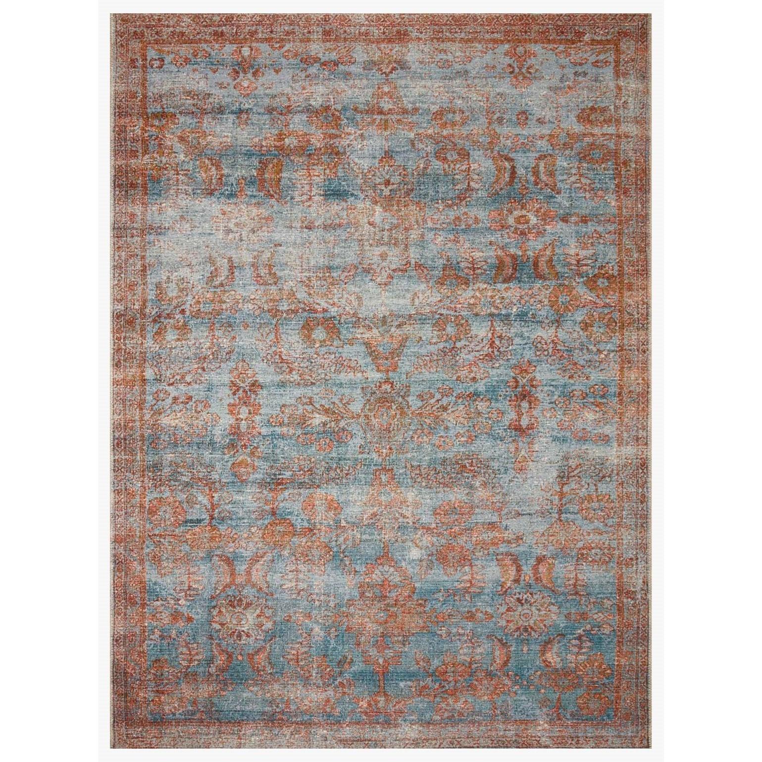 "Sebastian 3'11"" x 5'11"" Ocean / Spice Rug by Loloi Rugs at Virginia Furniture Market"