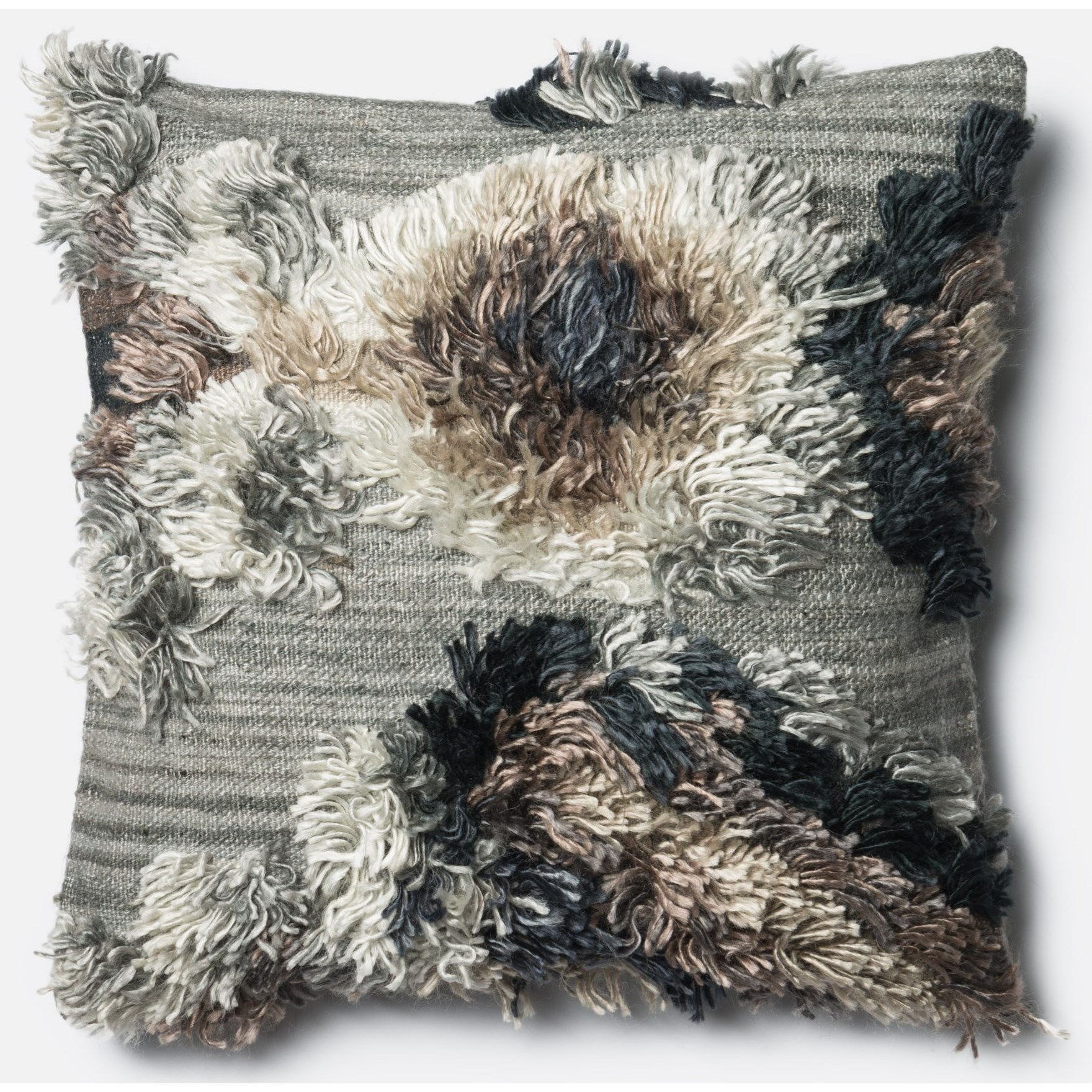 """Shag 22"""" X 22"""" Down Pillow by Loloi Rugs at Miller Waldrop Furniture and Decor"""