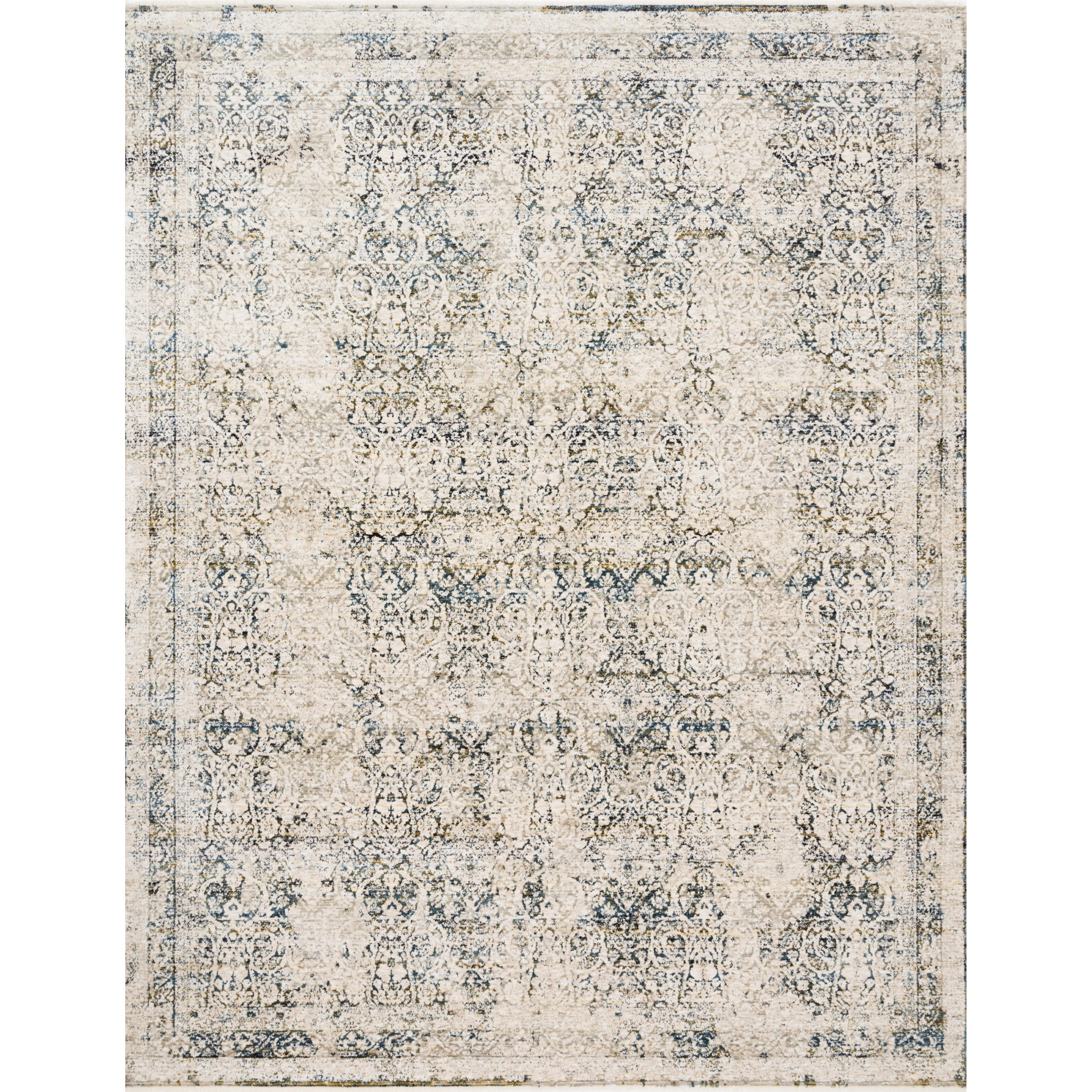 """Theia 3'7"""" x 5'2"""" Natural / Ocean Rug by Loloi Rugs at Virginia Furniture Market"""