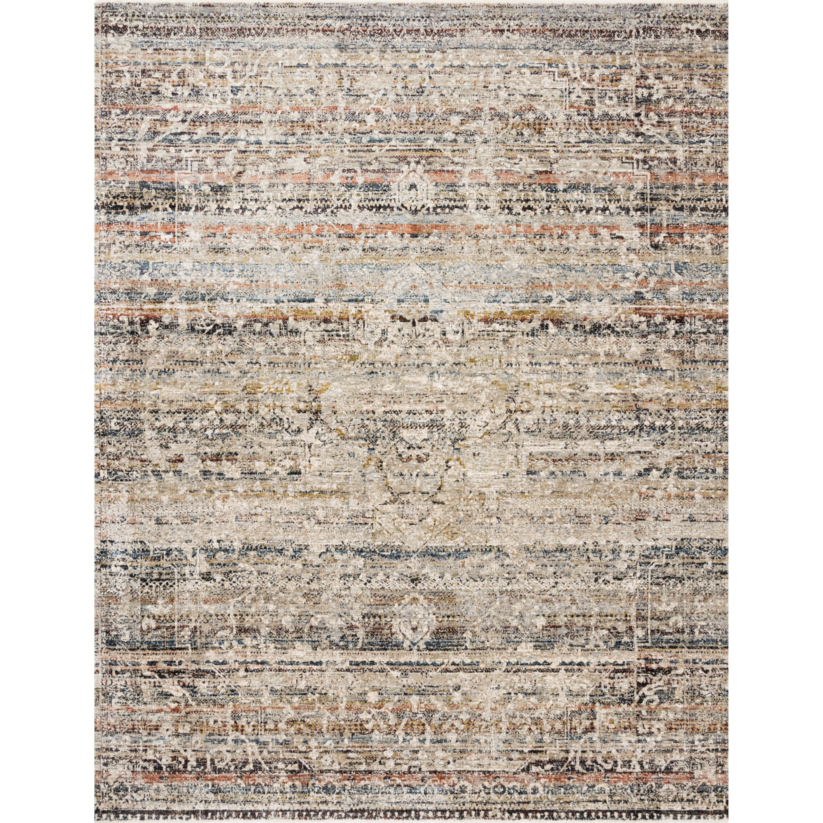"""Theia 2'10"""" x 8' Taupe / Multi Rug by Loloi Rugs at Virginia Furniture Market"""
