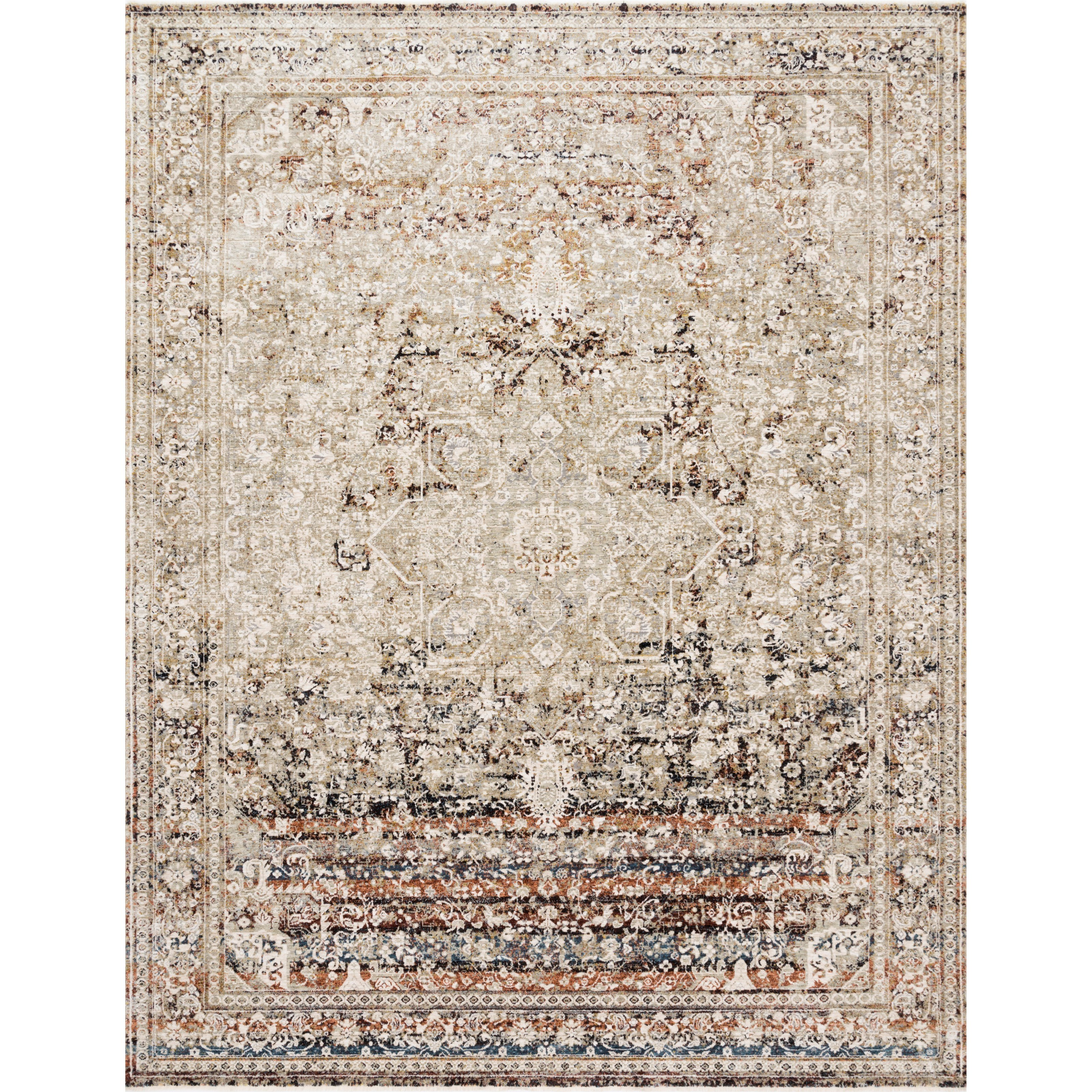 """Theia 2' x 3'7"""" Taupe / Brick Rug by Loloi Rugs at Virginia Furniture Market"""