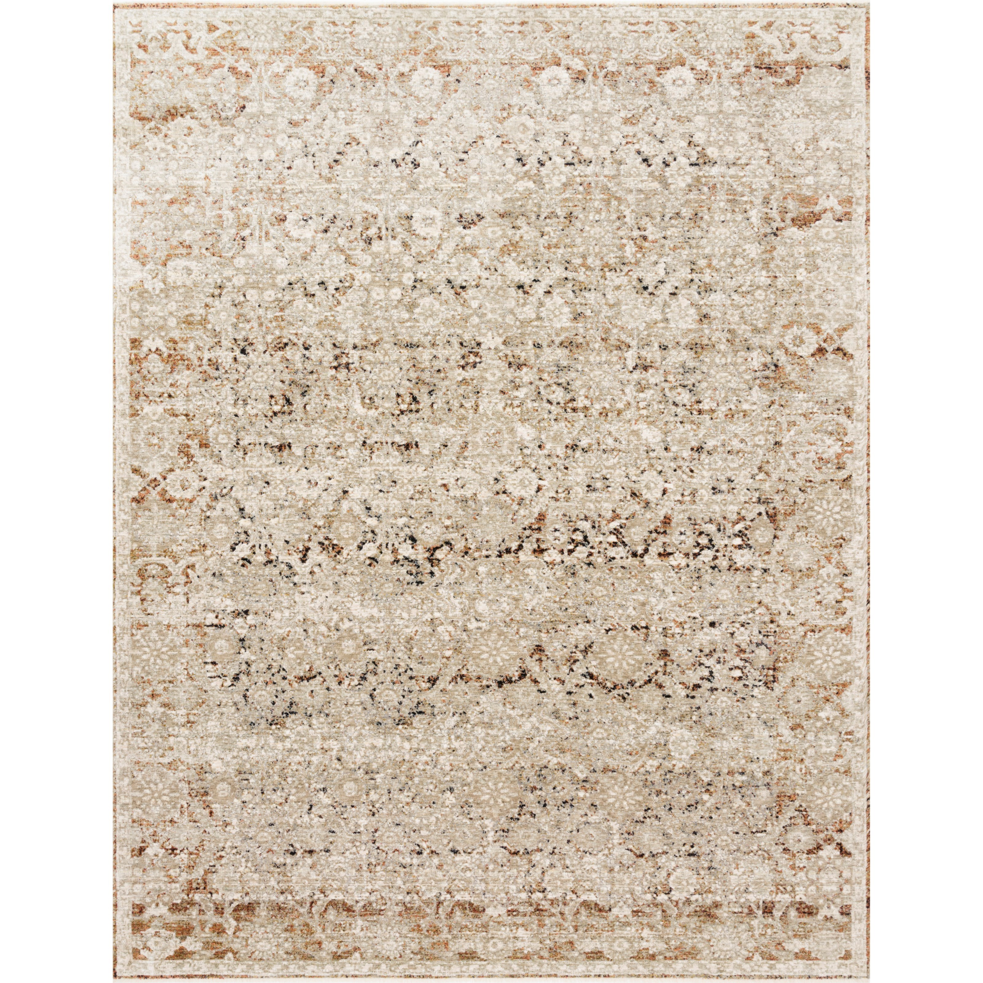 """Theia 7'10"""" x 7'10"""" Round Natural / Rust Rug by Loloi Rugs at Virginia Furniture Market"""