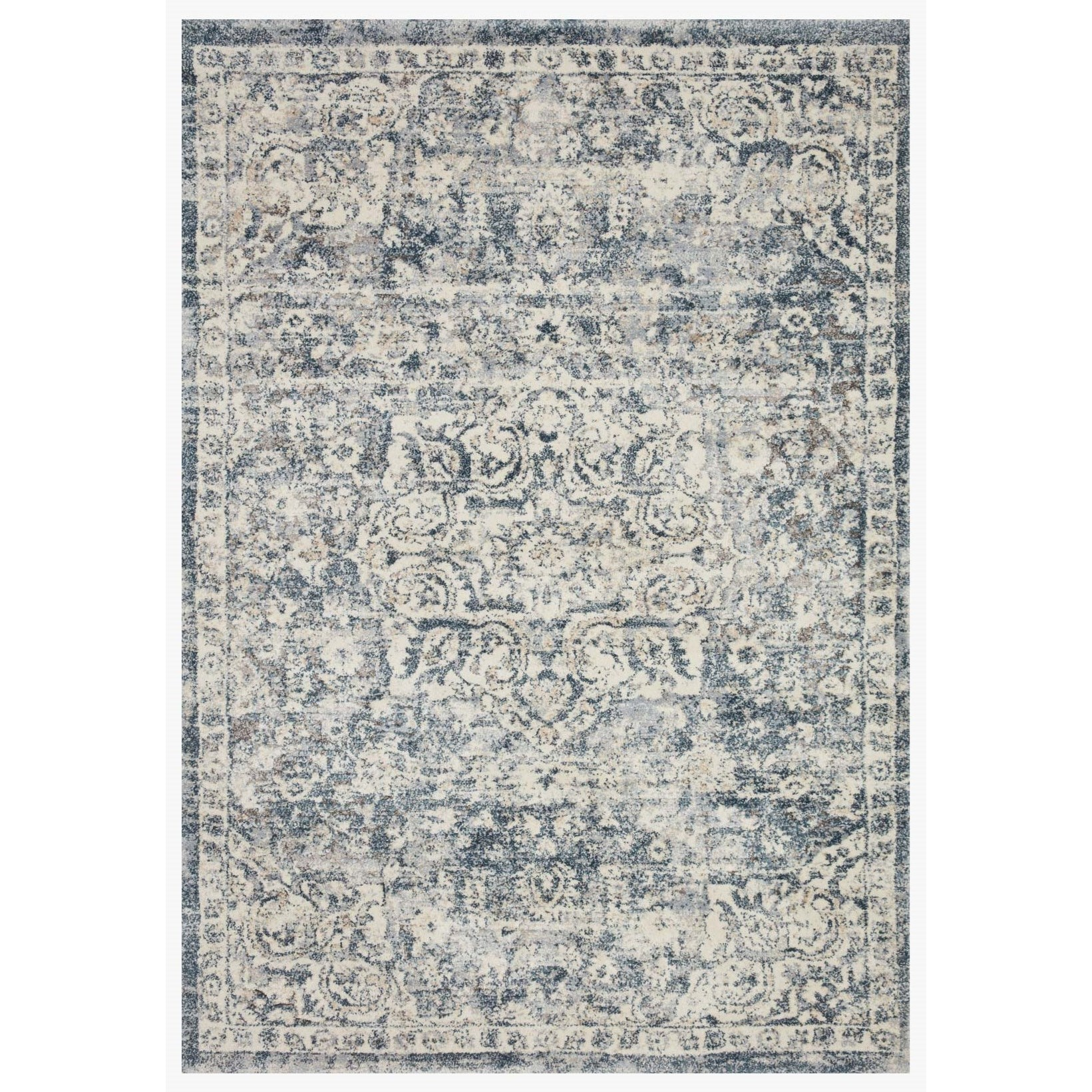 """Theory 3'7"""" x 5'7"""" Ivory / Blue Rug by Loloi Rugs at Virginia Furniture Market"""