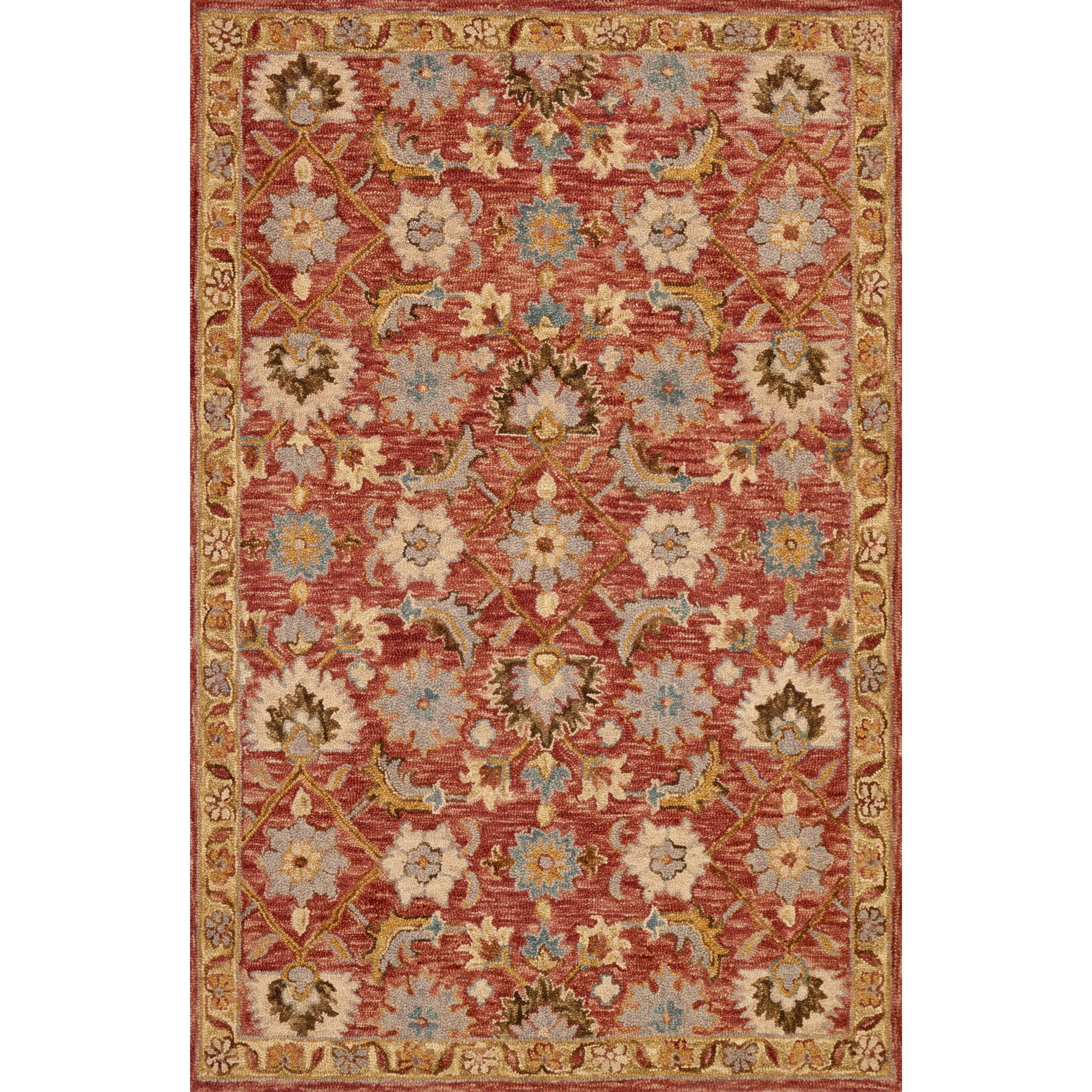 """Victoria 1'6"""" x 1'6""""  Terracotta / Gold Rug by Loloi Rugs at Virginia Furniture Market"""