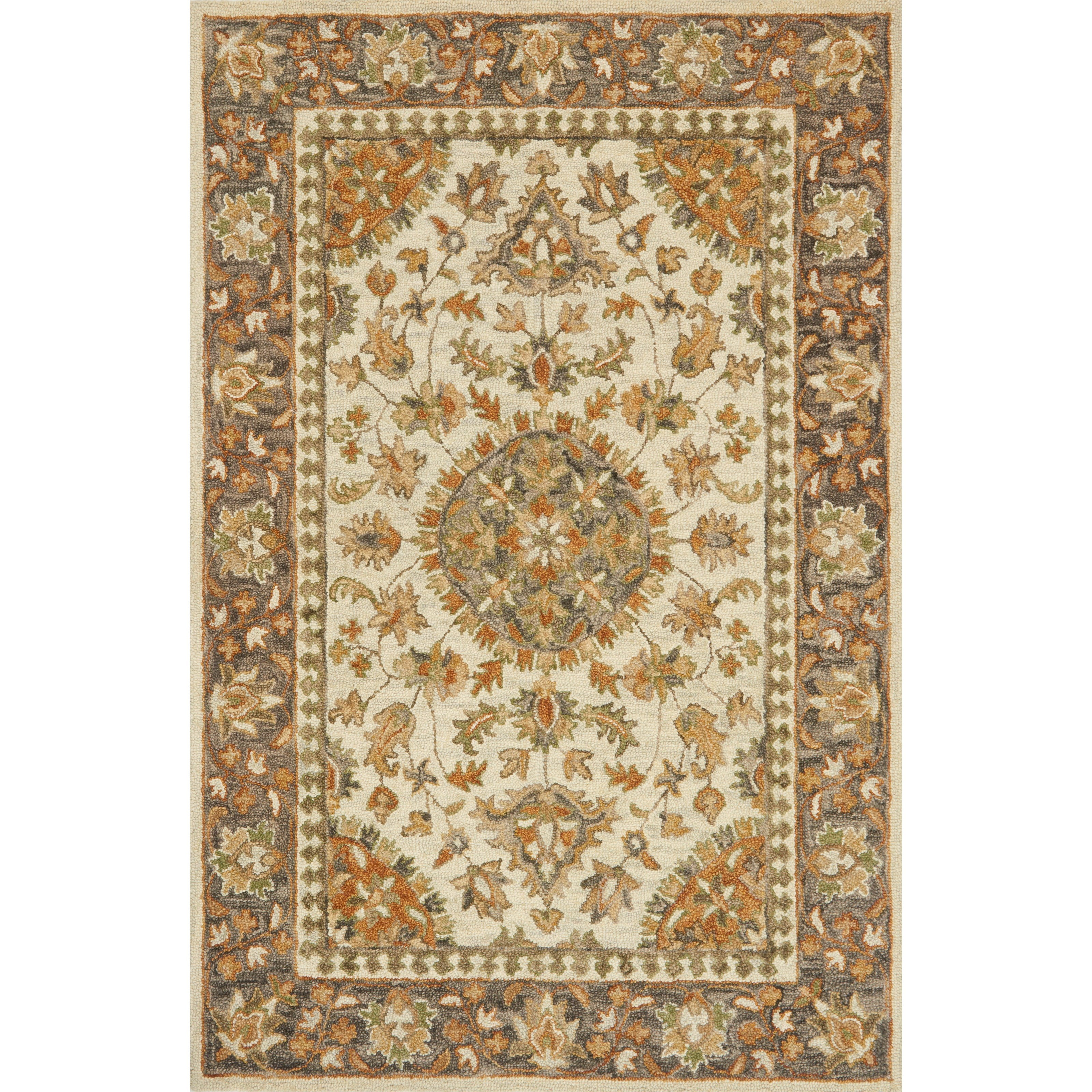 "Victoria 1'6"" x 1'6""  Ivory / Charcoal Rug by Loloi Rugs at Virginia Furniture Market"