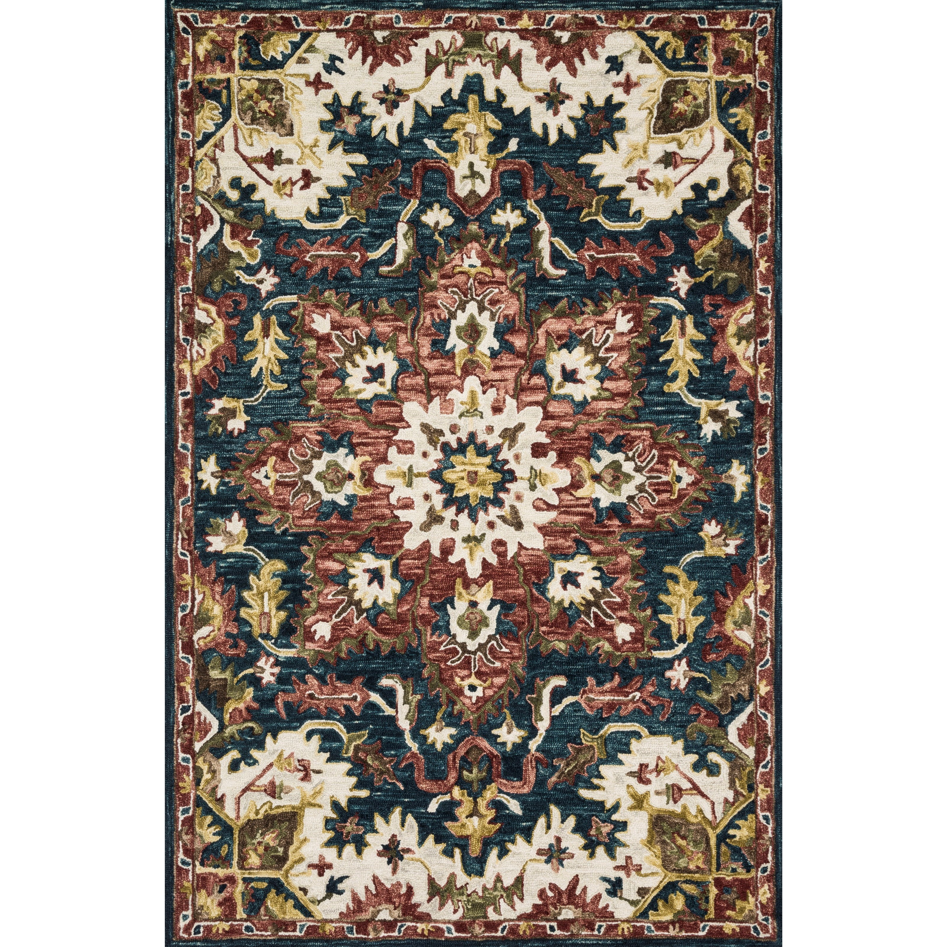 """Victoria 3'6"""" x 5'6"""" Teal / Raspberry Rug by Loloi Rugs at Virginia Furniture Market"""