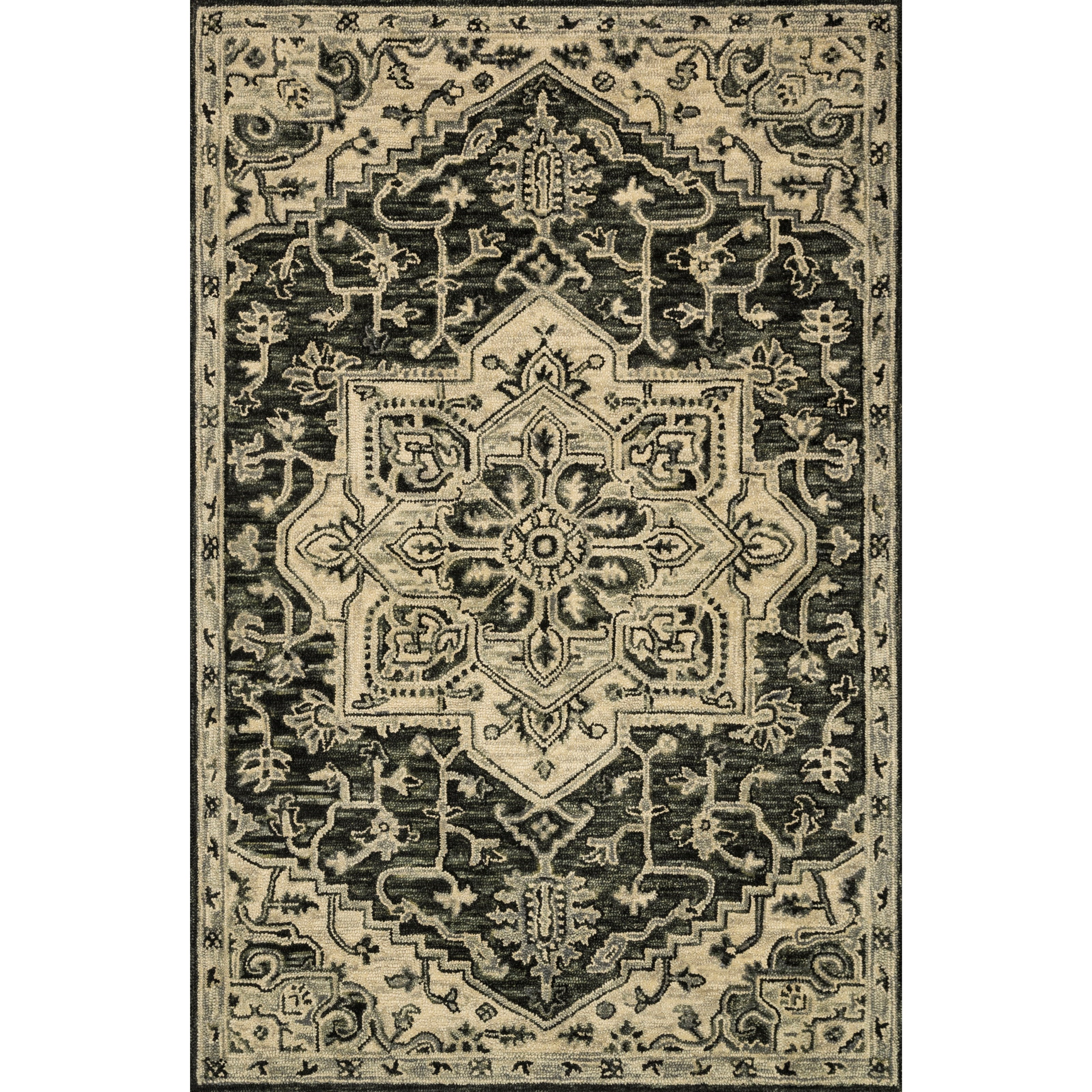 """Victoria 2'6"""" x 7'6"""" Charcoal / Lt Grey Rug by Loloi Rugs at Virginia Furniture Market"""