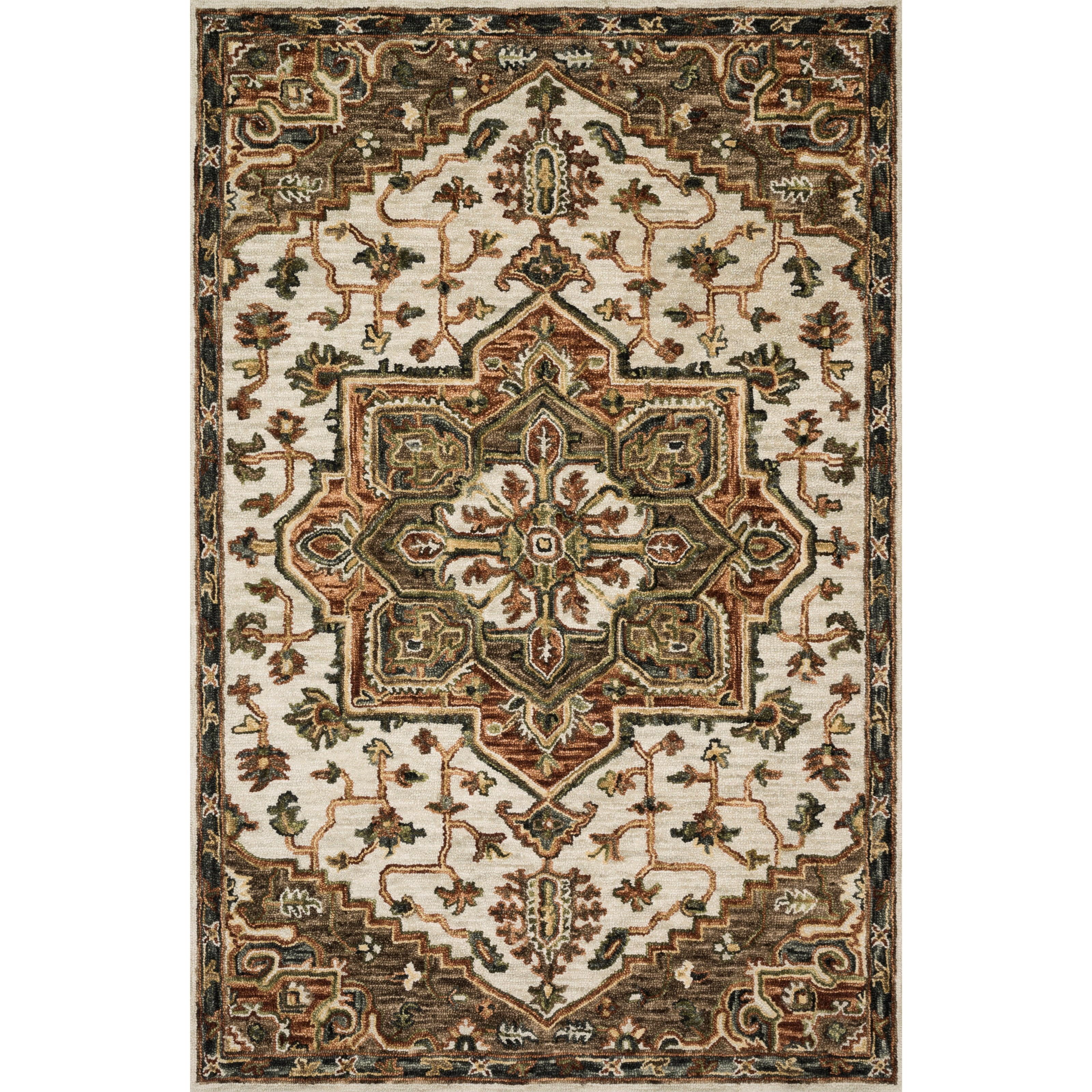 """Victoria 2'6"""" x 7'6"""" Ivory / Tobacco Rug by Loloi Rugs at Sprintz Furniture"""