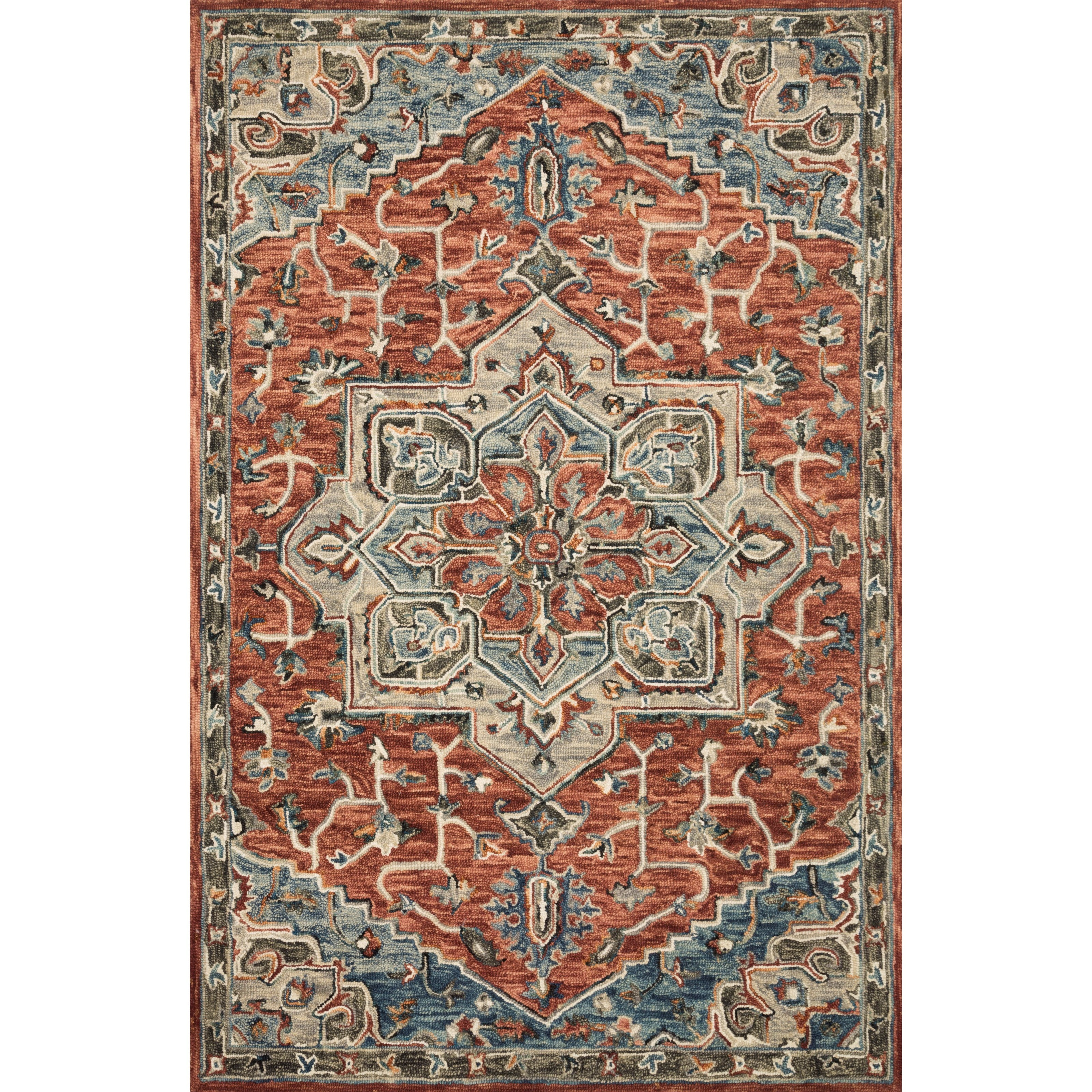 """Victoria 5'0"""" x 7'6"""" Red / Multi Rug by Loloi Rugs at Virginia Furniture Market"""