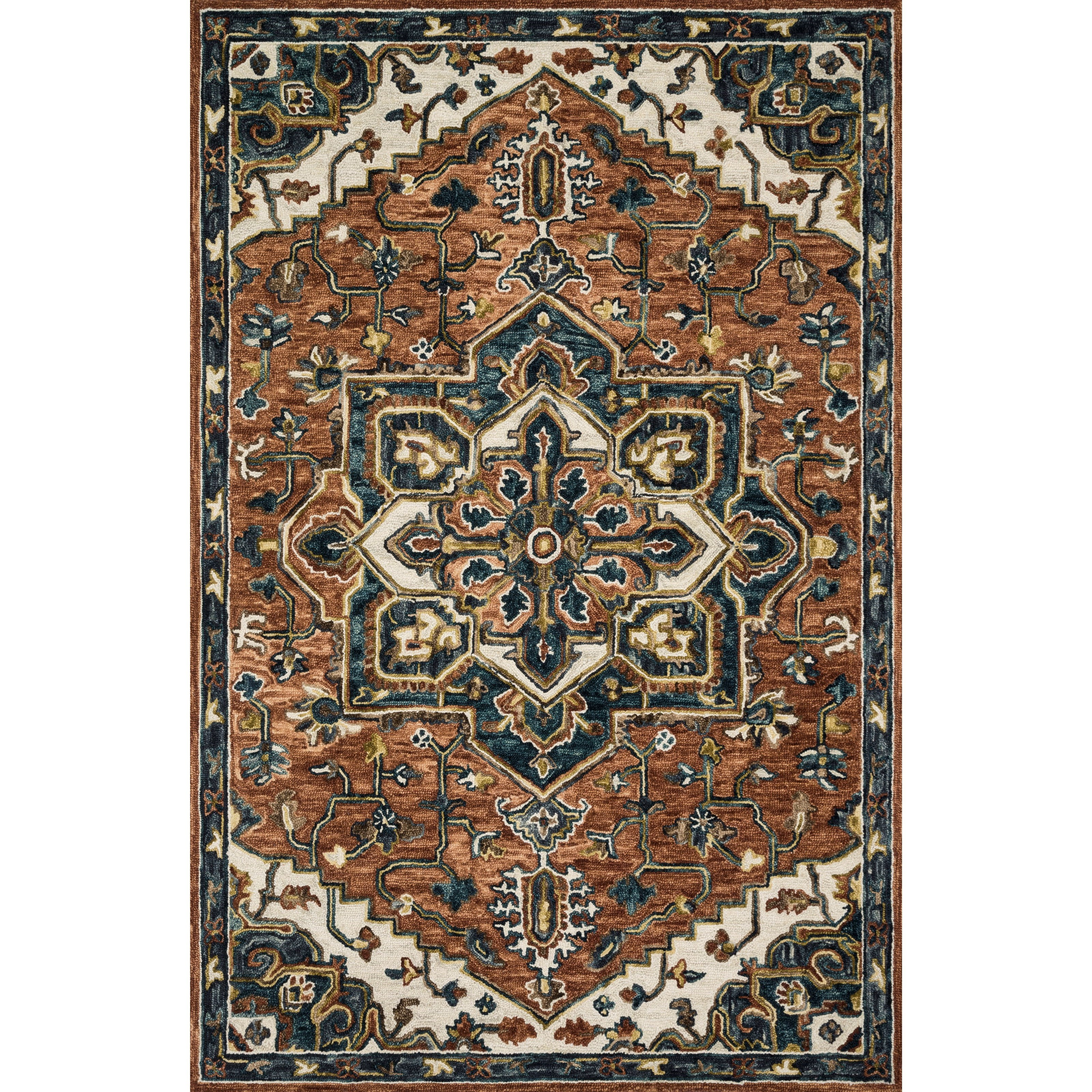 """Victoria 9'3"""" x 13' Rust / Ivory Rug by Loloi Rugs at Virginia Furniture Market"""
