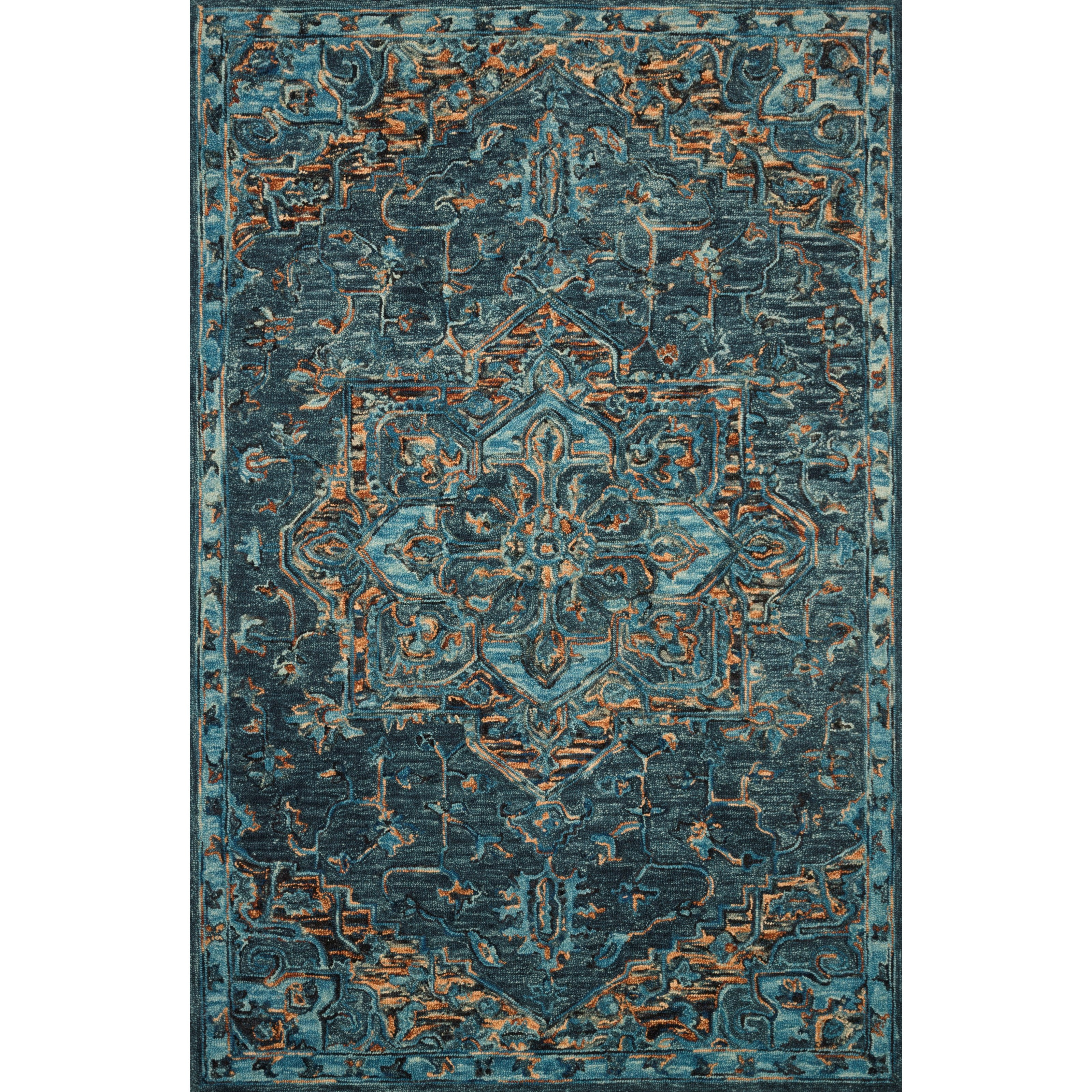 """Victoria 7'9"""" x 9'9"""" Teal / Multi Rug by Loloi Rugs at Virginia Furniture Market"""