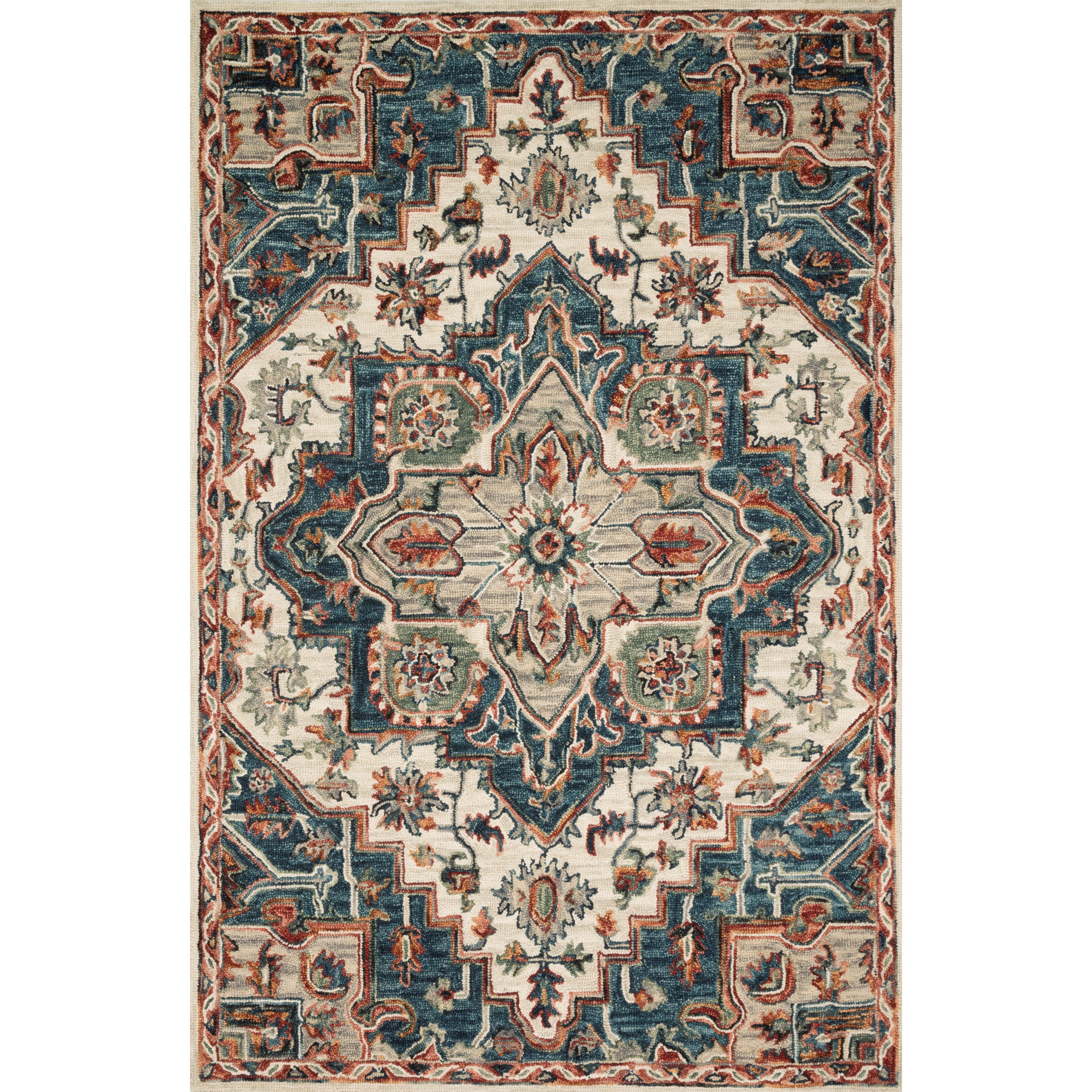 """Victoria 5'0"""" x 7'6"""" Blue / Red Rug by Loloi Rugs at Virginia Furniture Market"""